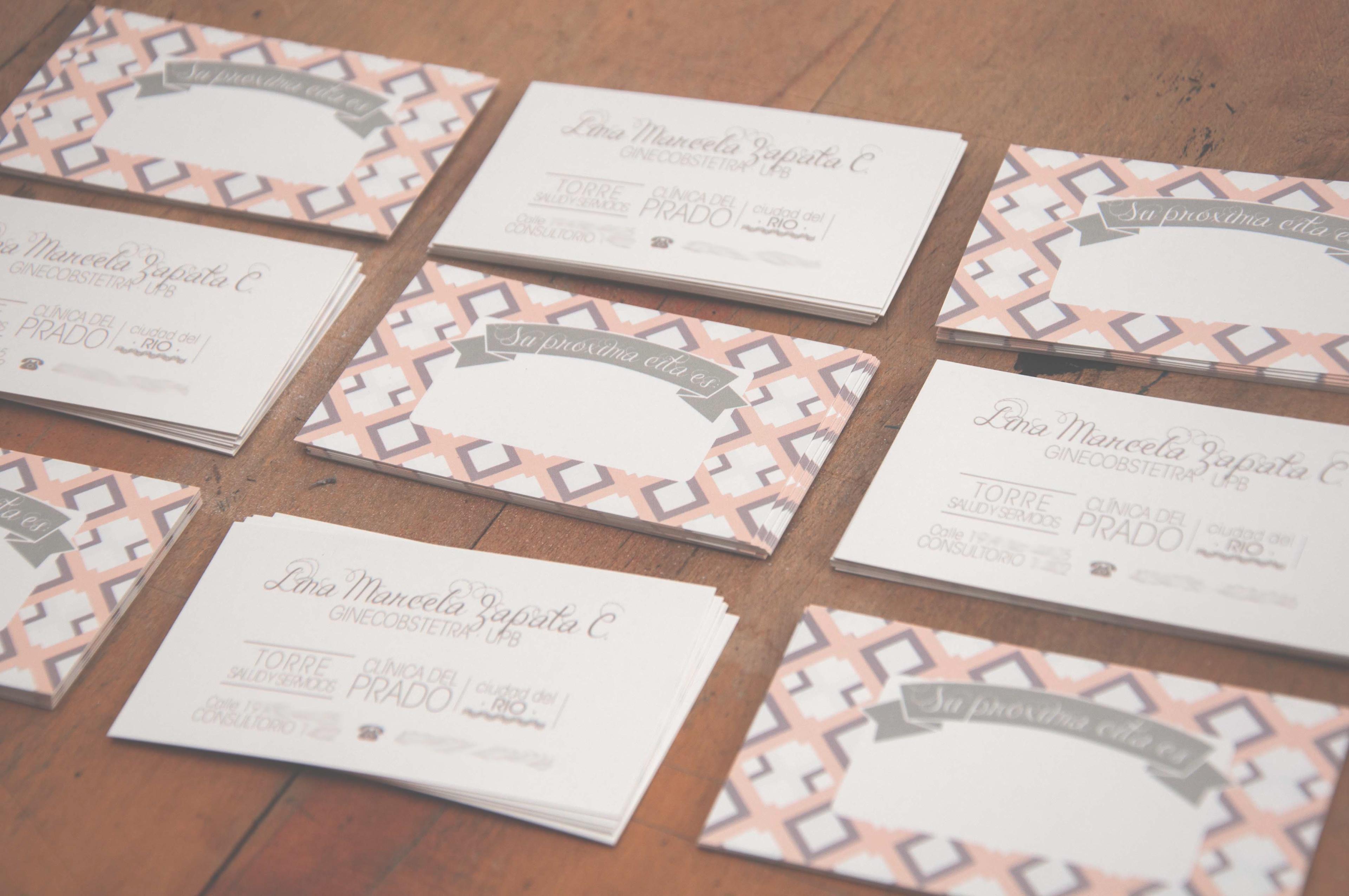 Lina Moreno Business Cards and recipe sheets Dr Lina M Zapata