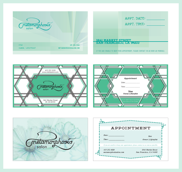 Claire harr portfolio business cards business appointment card designs for metamorphsis salon in sf colourmoves