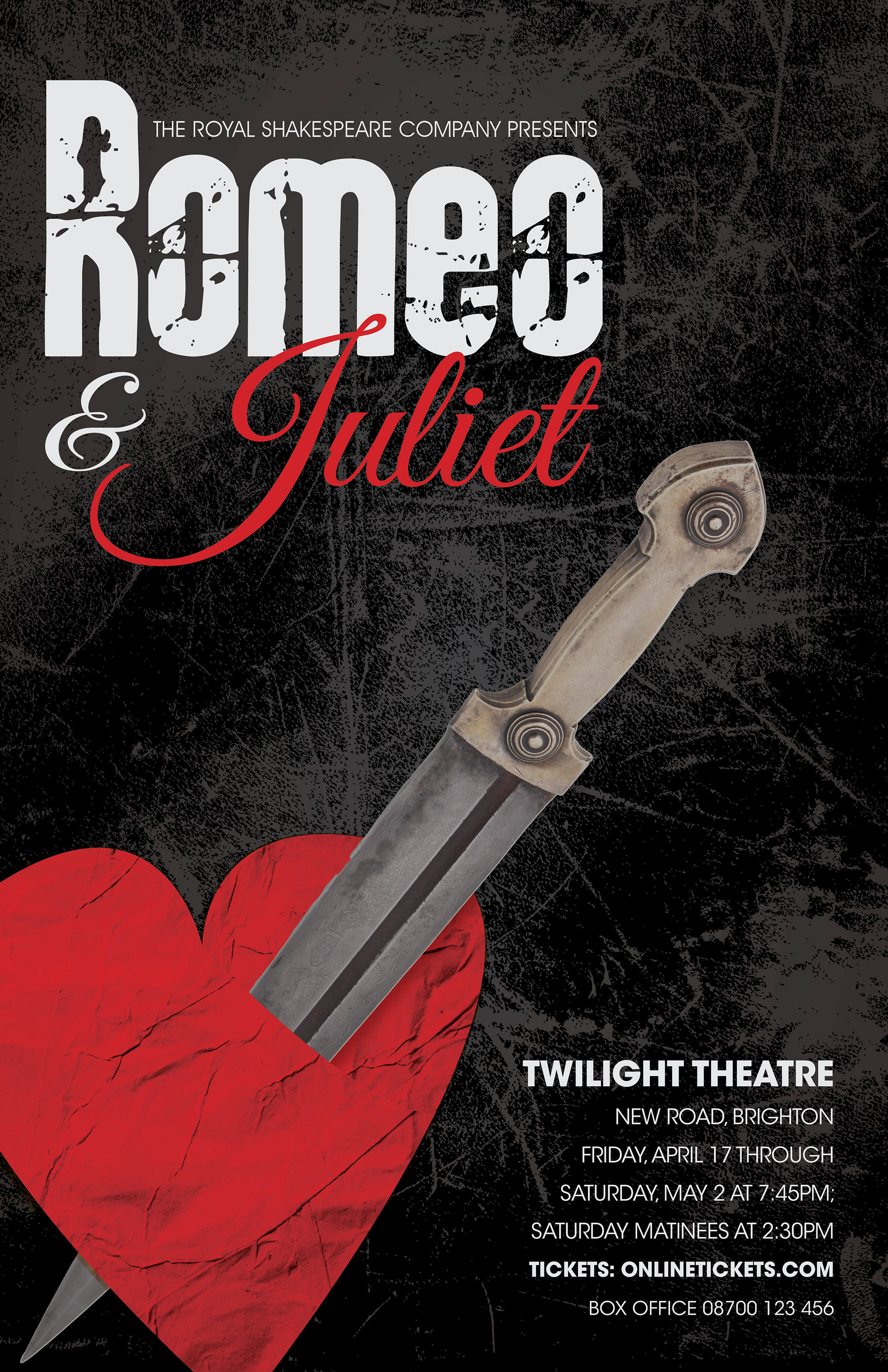 Final Poster Design Utilizes Textures And Contrasting Colors To Create A Dramatic Feel Grunge Font Was Used For Romeos Name Flowing Script