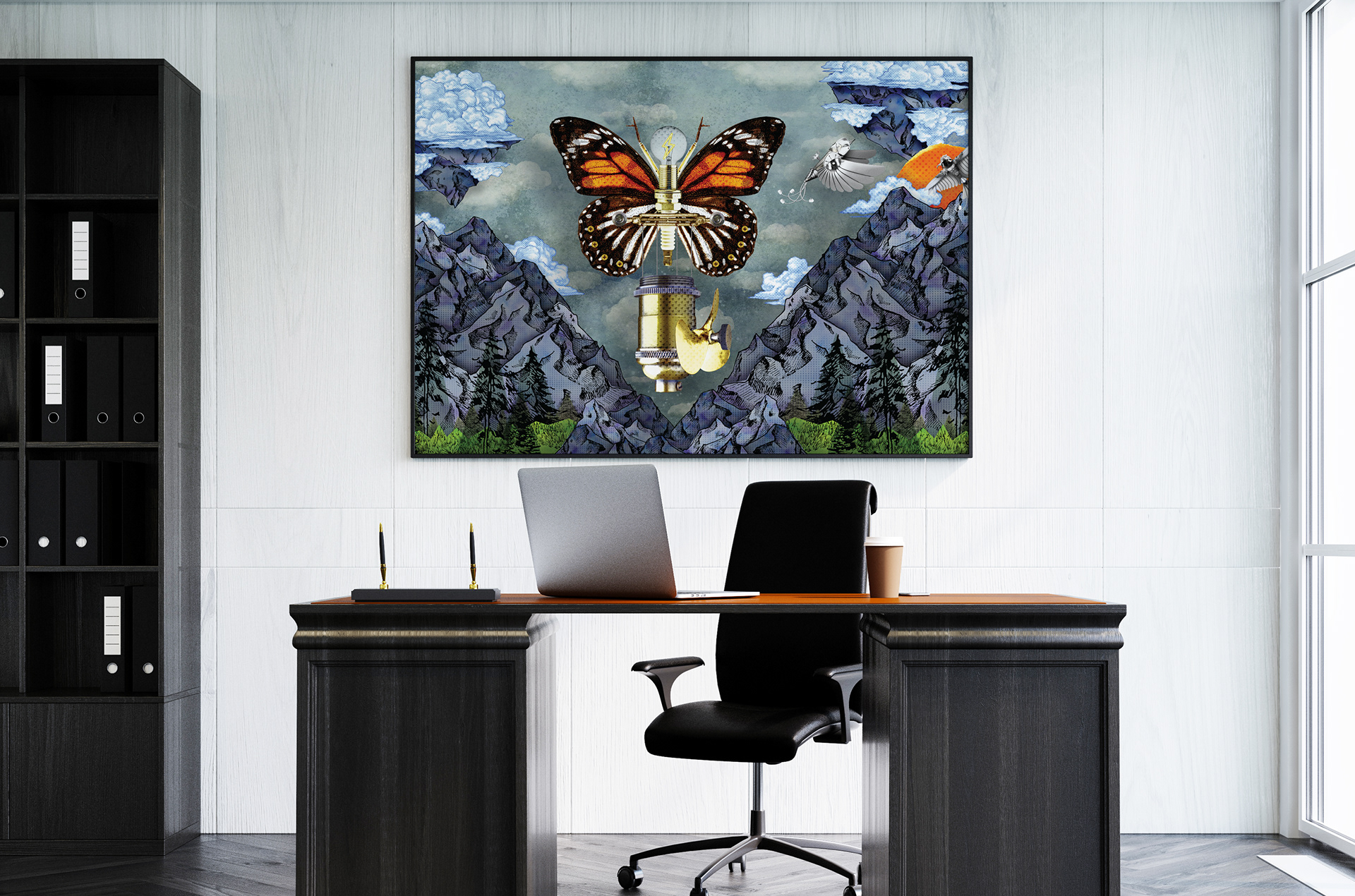 Fantastical Flight Ilrations Printed On Large Canvases For An Office E Interior In Tech Town Dayton Ohio