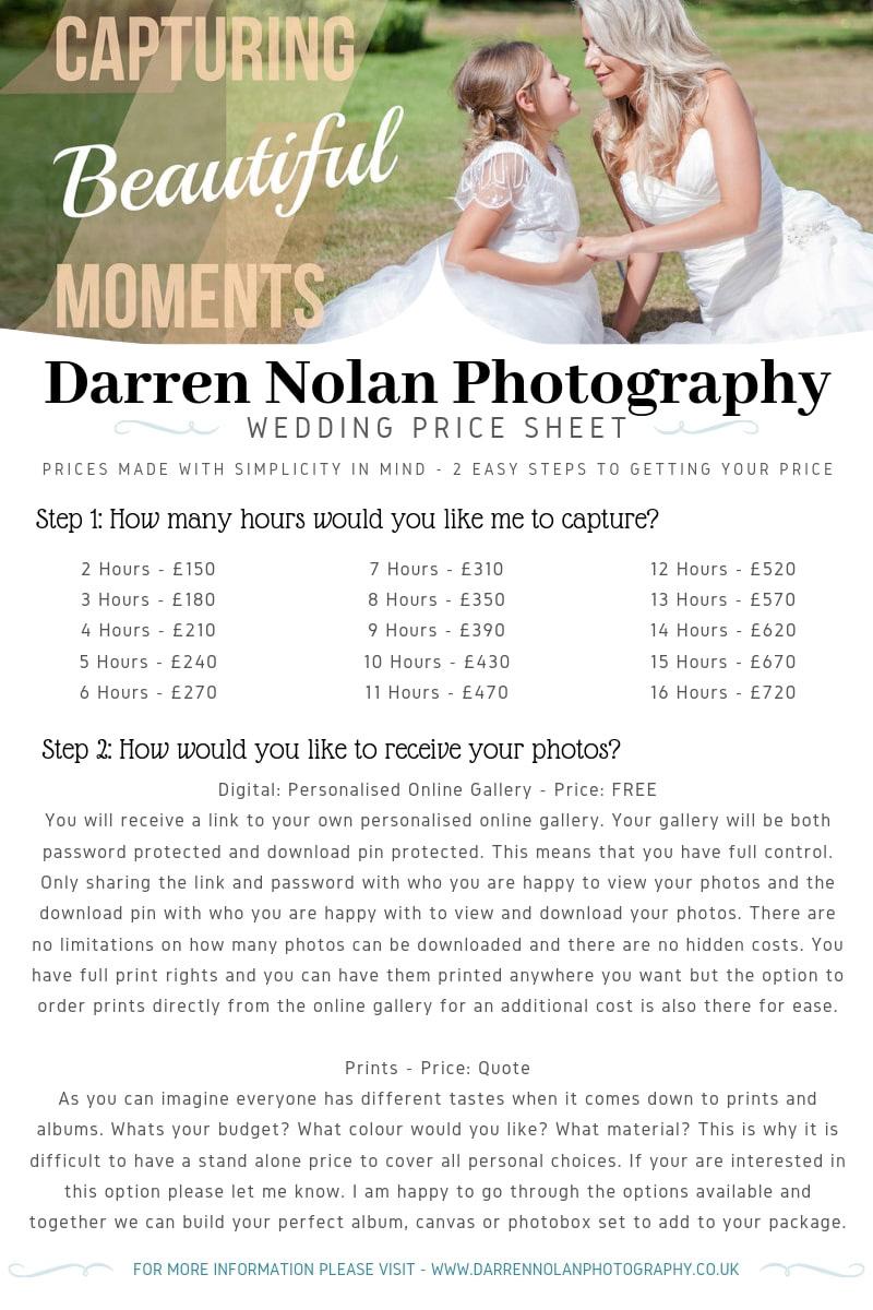 Darren Nolan Photography - Weddings Price Sheet & Details