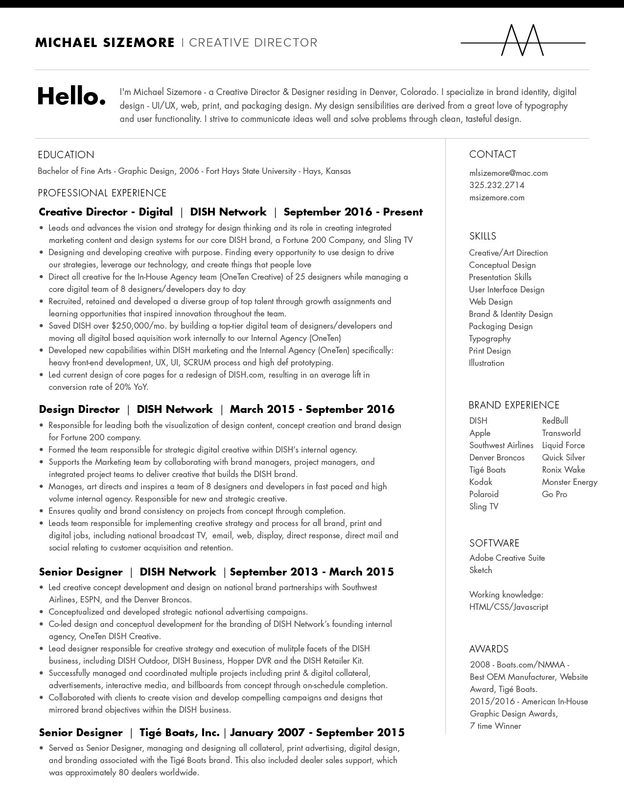 Michael Sizemore - Creative/Art Director - Resume