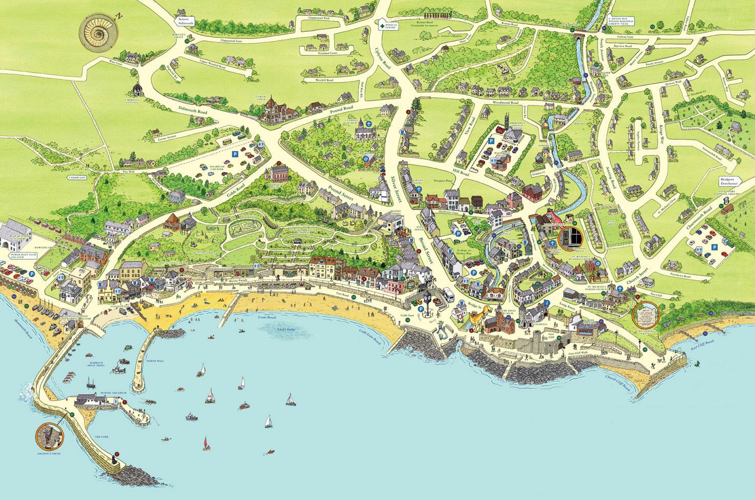 Map Of Lyme Regis Keith Robinson Illustration   Lyme Regis, Tourist Map Map Of Lyme Regis