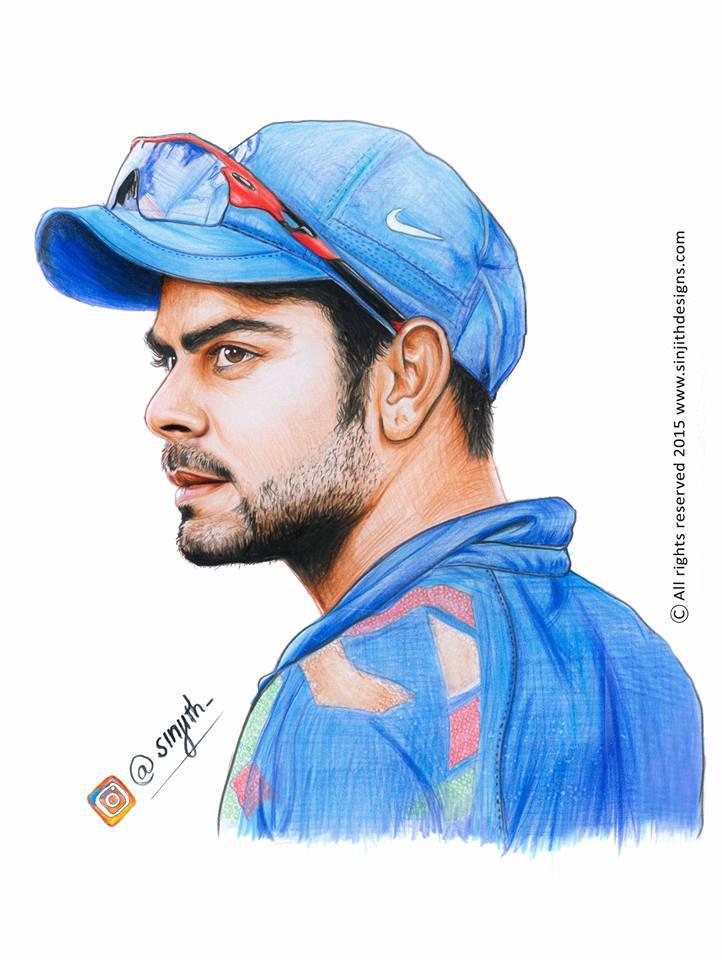 Sinjith M S Virat Kohli Realistic Colored Pencil Drawing