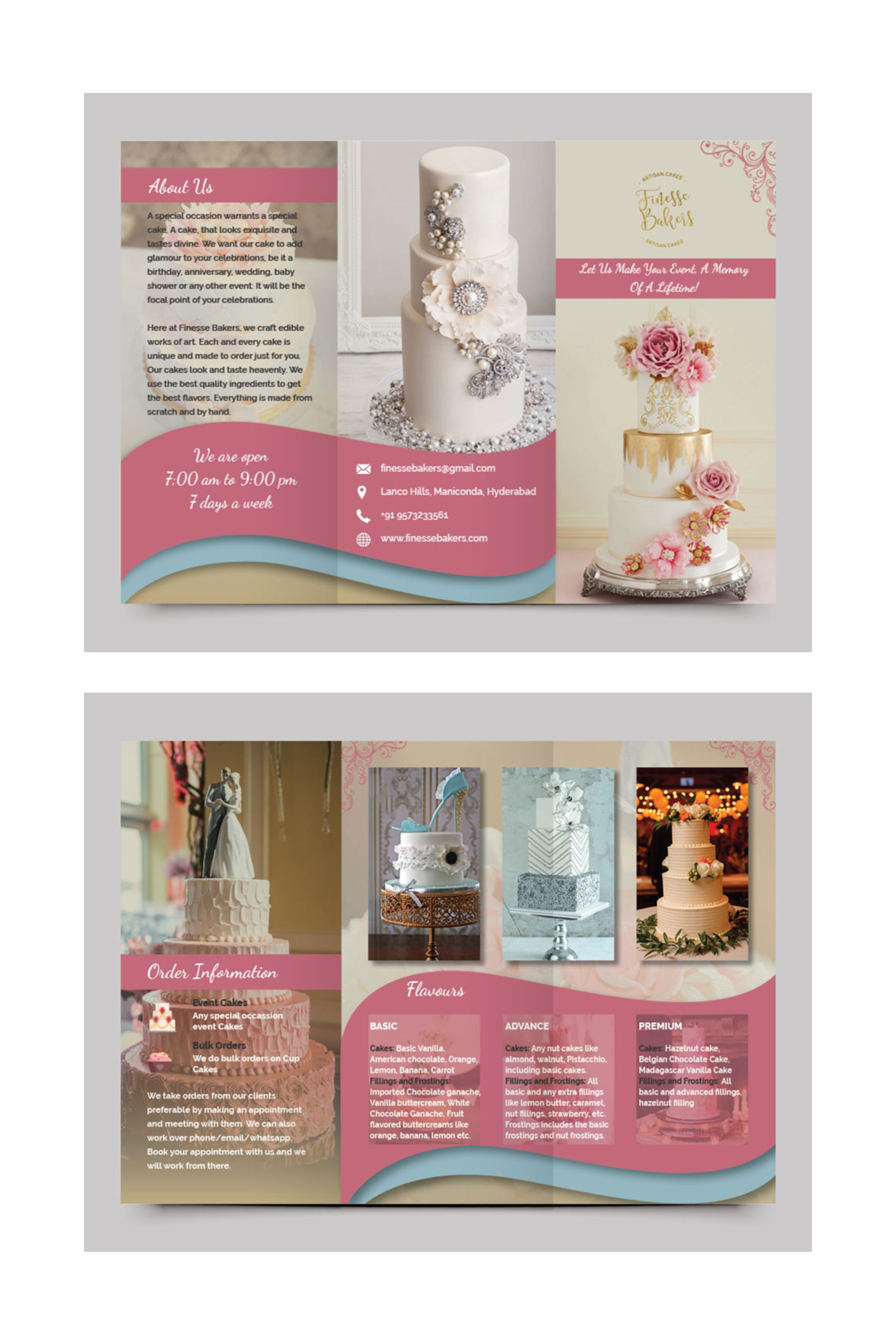 kitty creations brochure design contest entry for a cake business