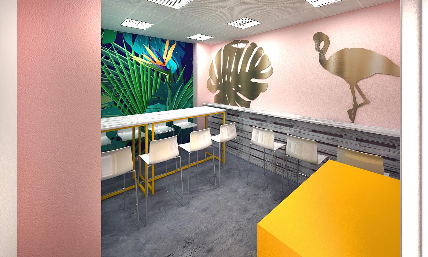 3d Designer Dubai Office Pantry Interior Fit Out