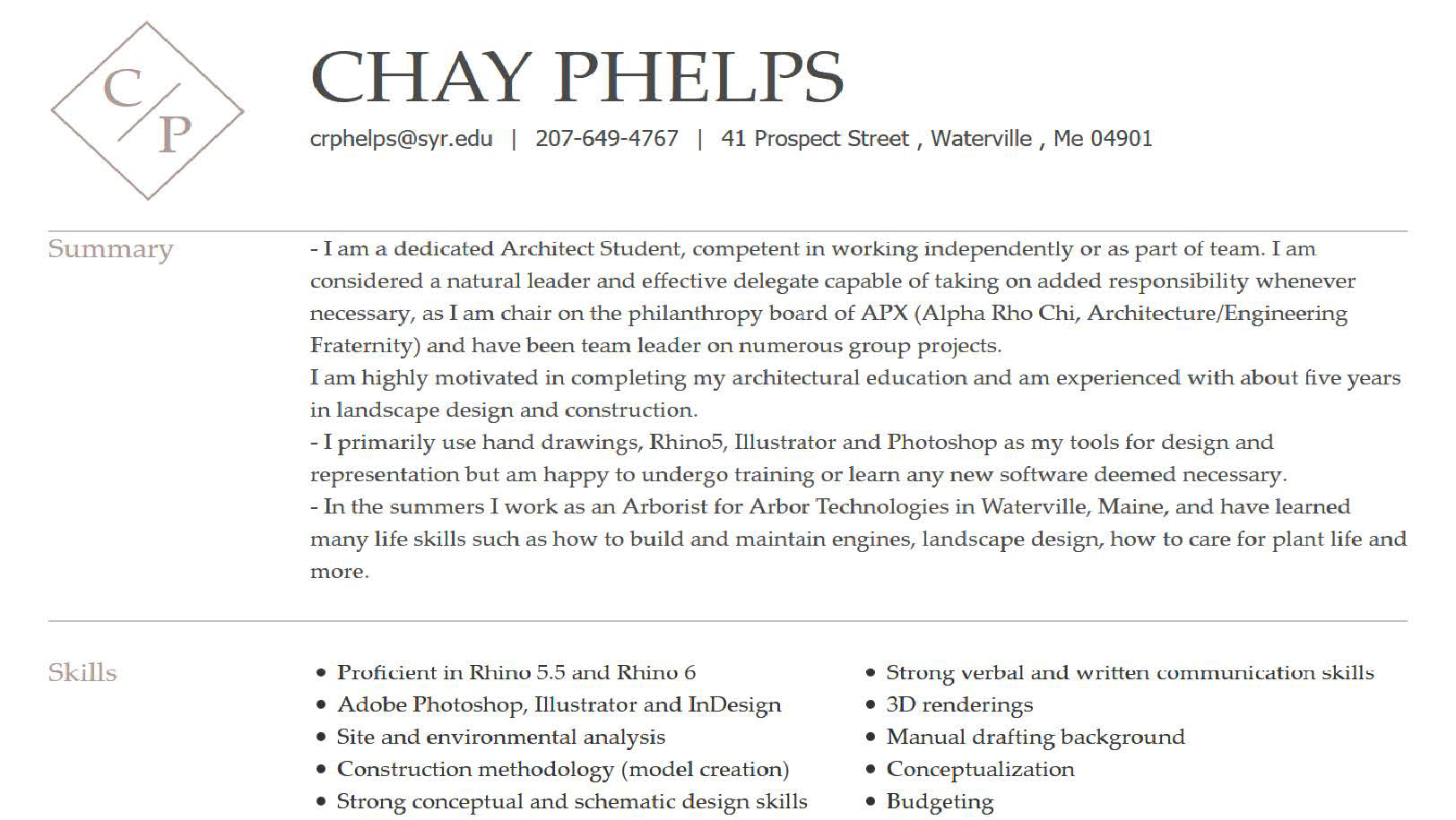 Chay Phelps - credentials