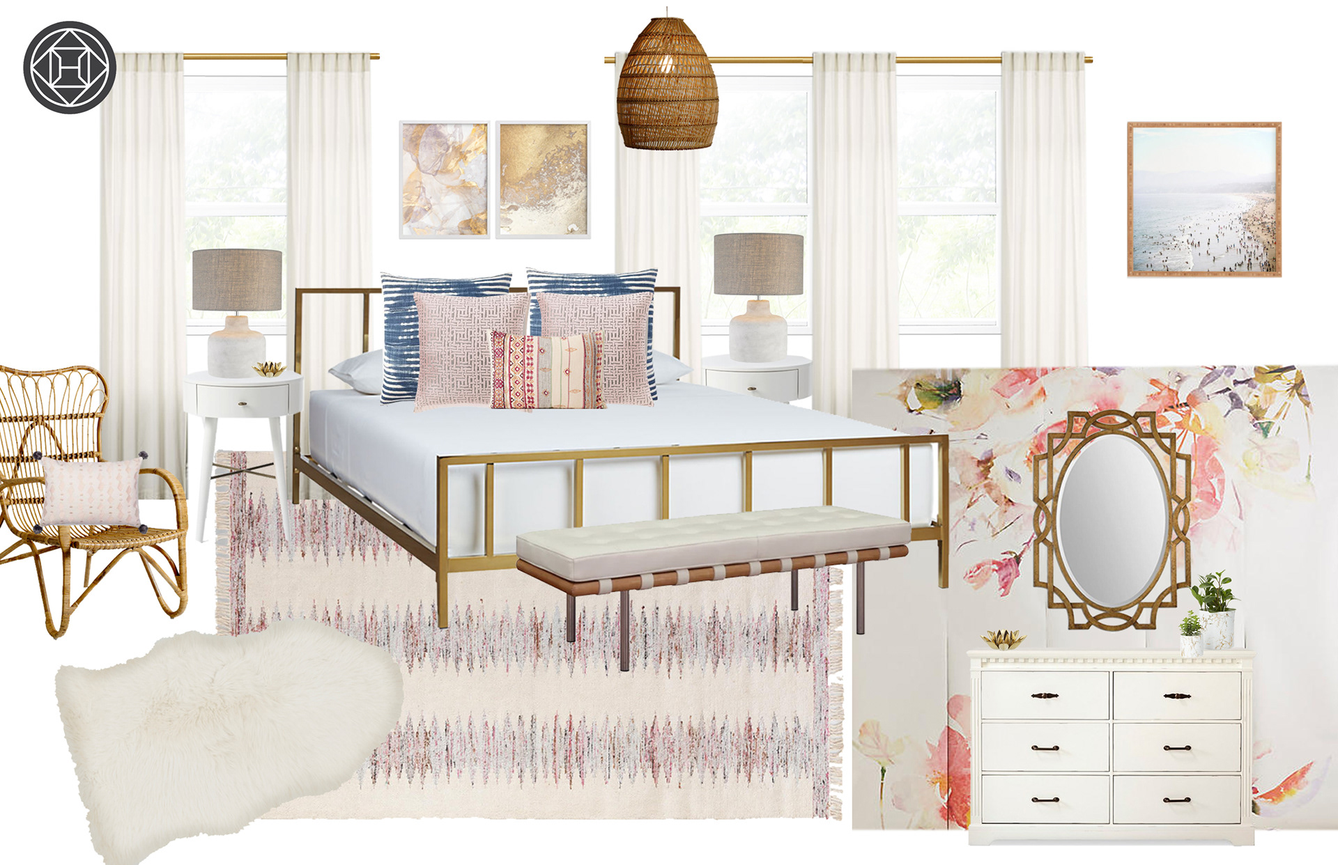 A Feminine And Glam Bedroom With Boho Patterns Textures