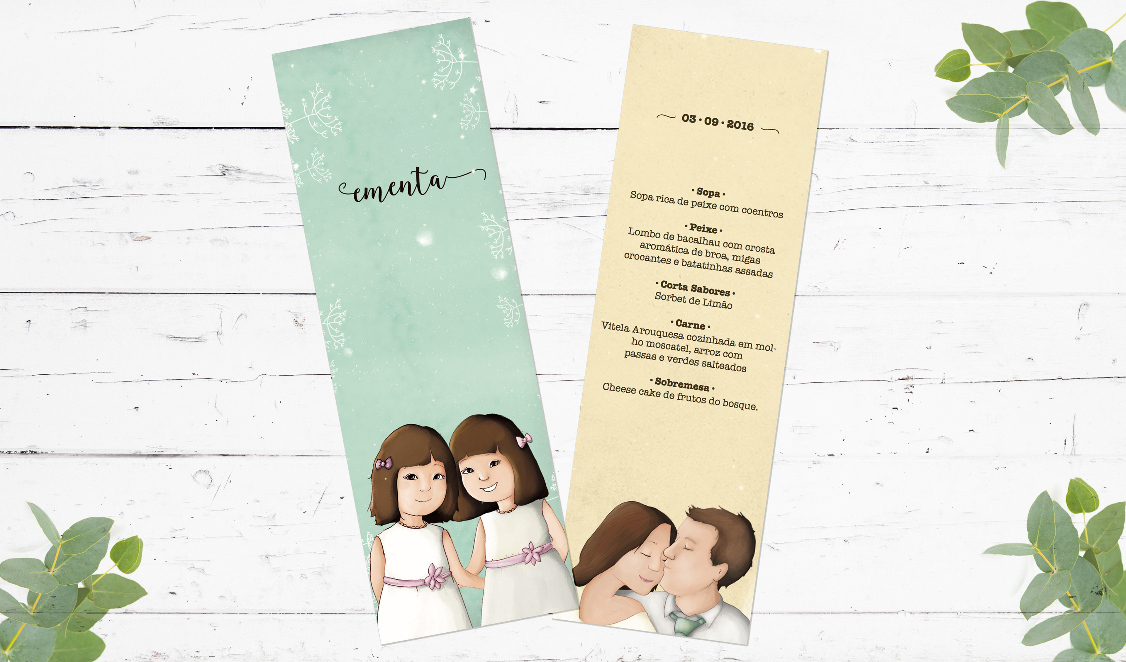Asas de Peixe - Wedding & baptism invitation | Paula & Hervé & twiins