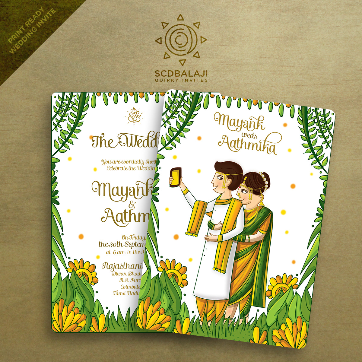 Quirky Indian Wedding Invitations Maharashtrian Wedding