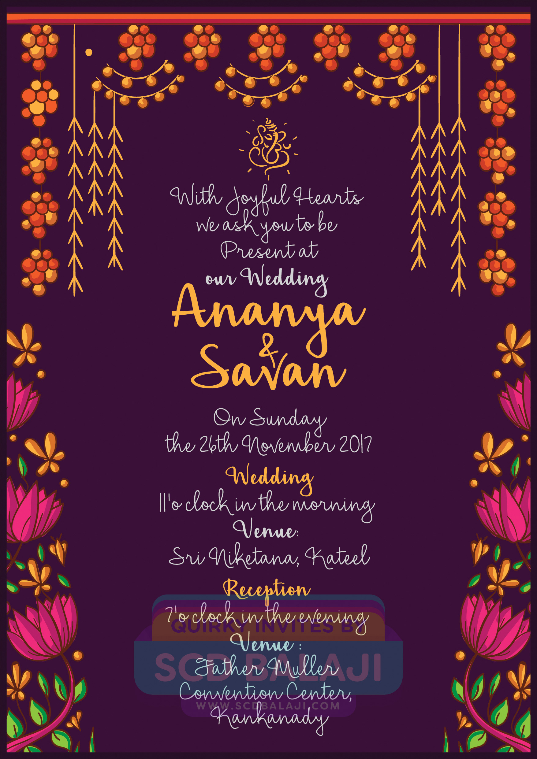 Scd balaji quirky creative indian wedding invitations card 300 gsm envelope cover 170 gsm rs 50 per card printing rs 20 per cover printing name venue date time day text replacement stopboris Images