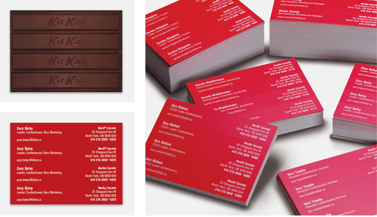 Rohnny kosan kit kat shareable business cards these cards were awarded by marketing and the one show reheart Choice Image