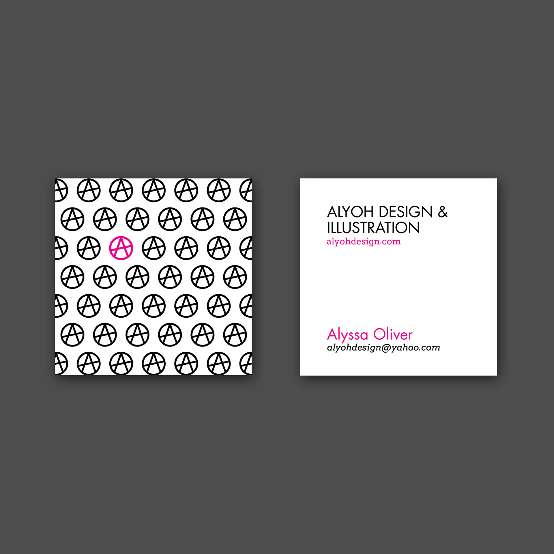 Alyssa oliver alyoh design business cards finally got around to designing some business cards for myself utilizing my ao anarchic logo and my brand color of magenta colourmoves Images