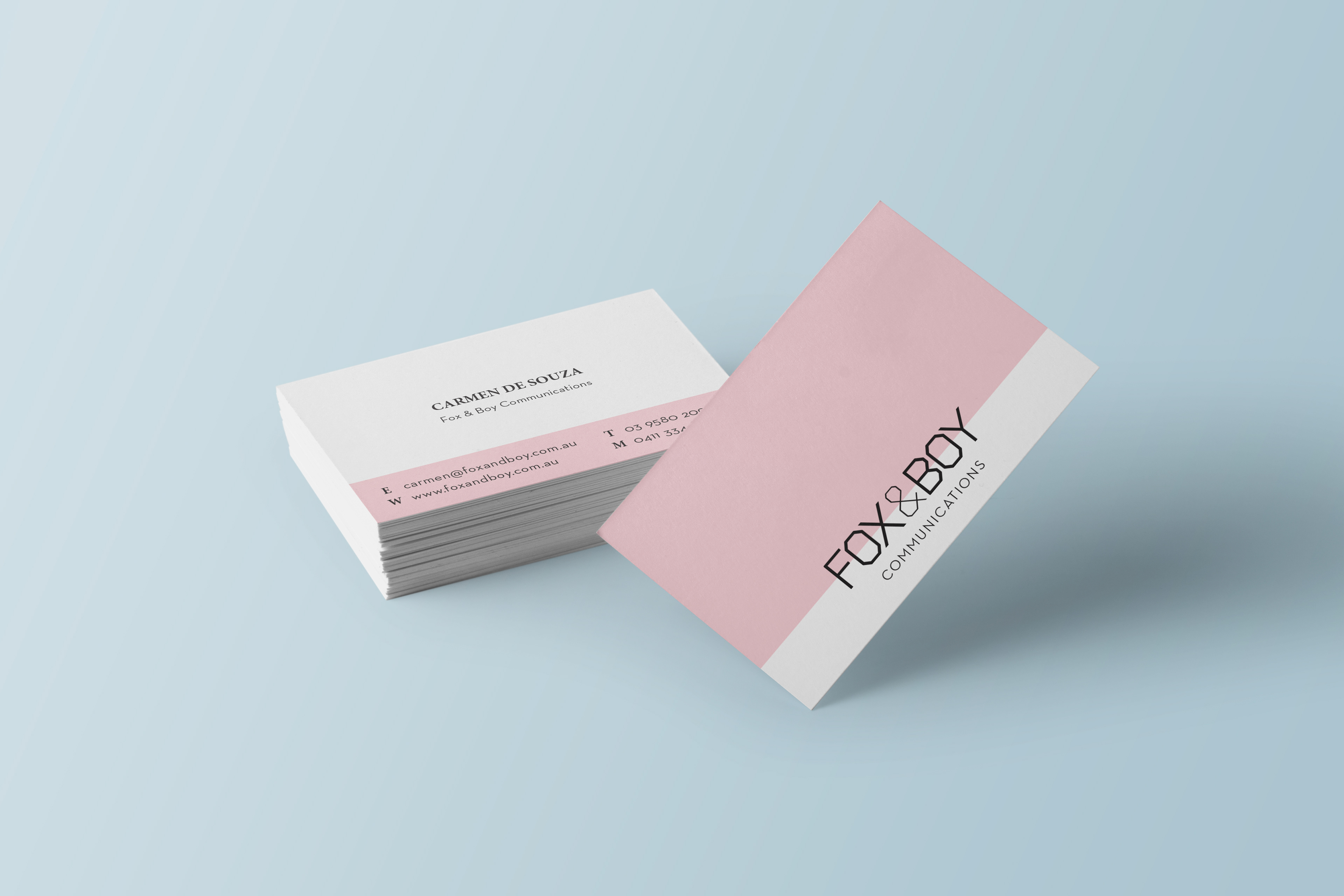Corinna djaferis fox boy business card updating the brand of fox and boy communications starting with the business card fox and boy is a communications agency specializing in public relations colourmoves