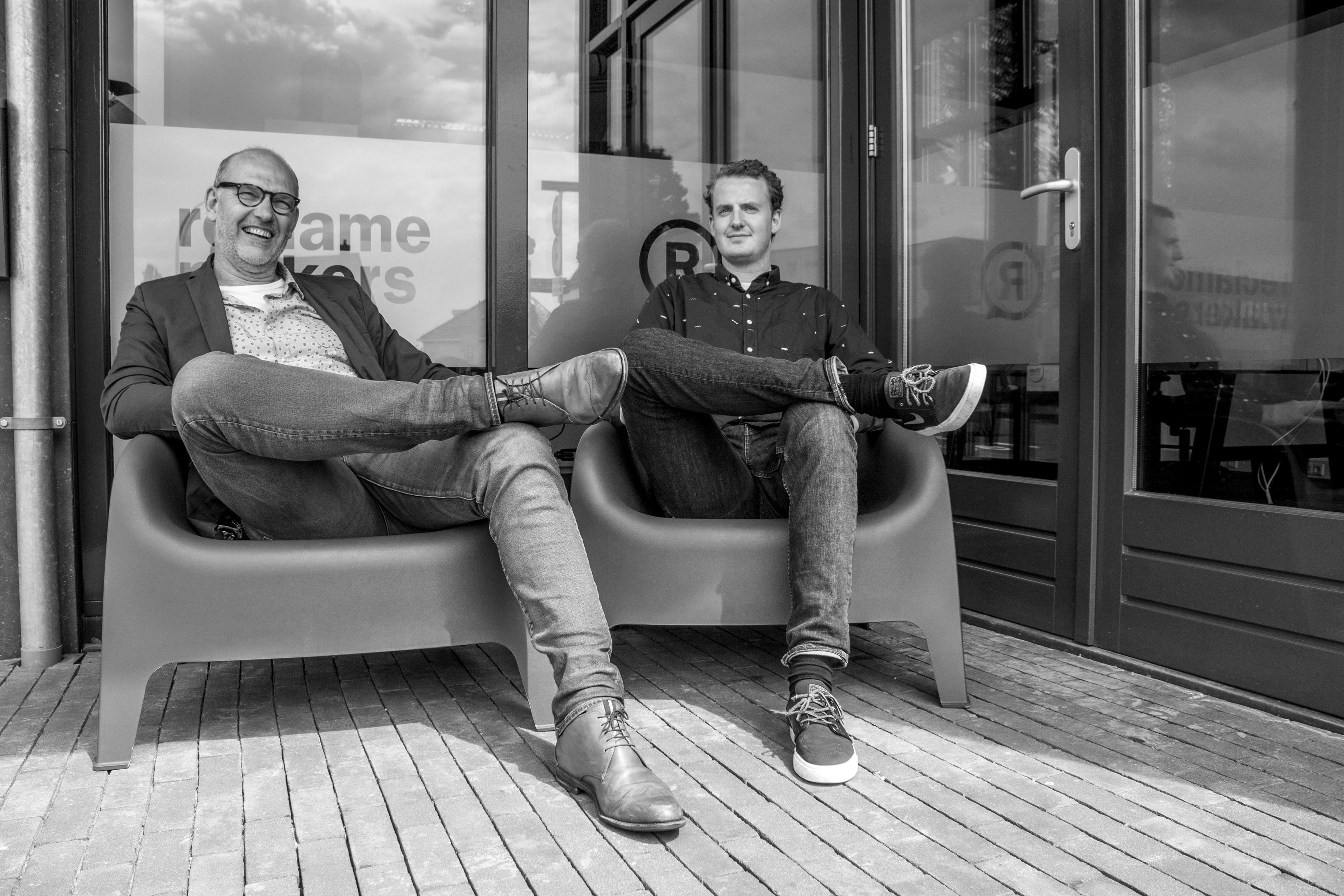 André Heetkamp en Rutger Zandjans, grafisch ontwerpers bij Reclamemakers Holten