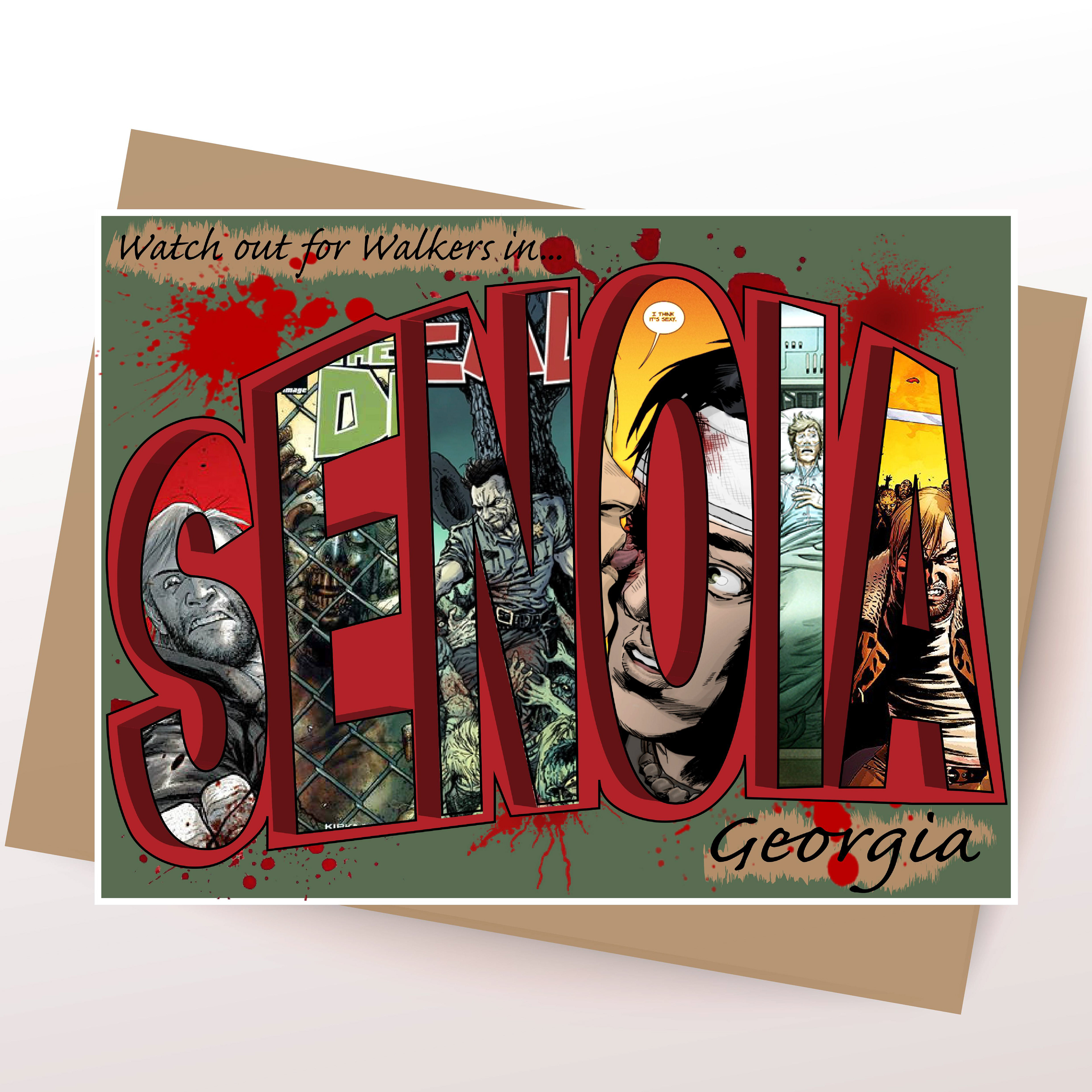 Kayla meadows big letter greeting card since the town of senoia is where filming of the tv show the walking dead takes place i chose to make the greeting card the theme of the show m4hsunfo
