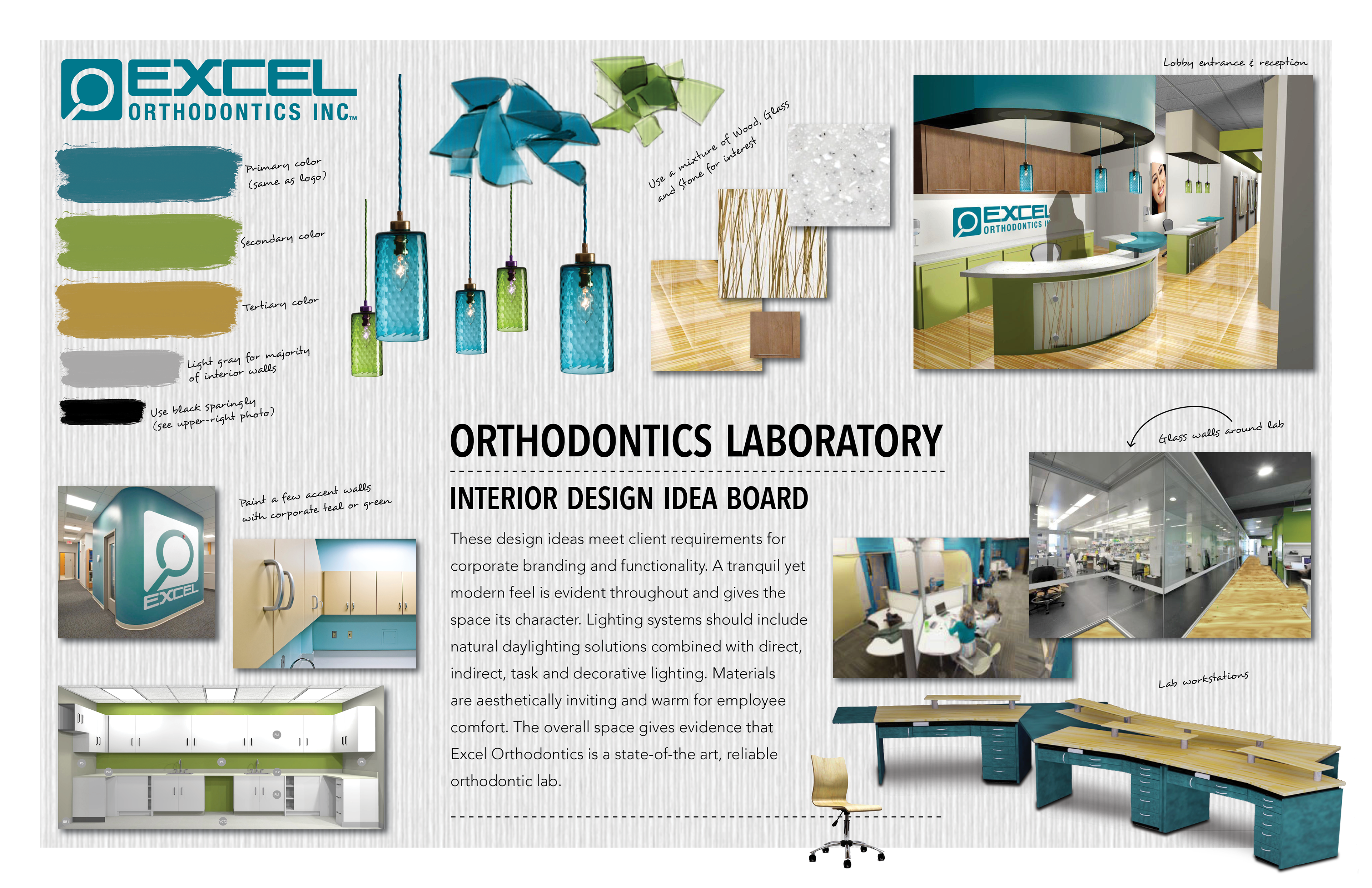 interior design idea board for branding an orthodontics laboratory just being built - Interior Design Idea Board