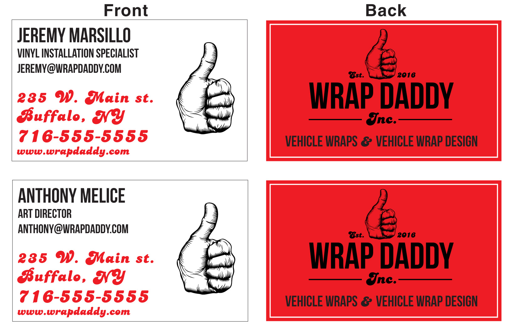 Design addikt wrap daddy inc branding business cards reheart Gallery