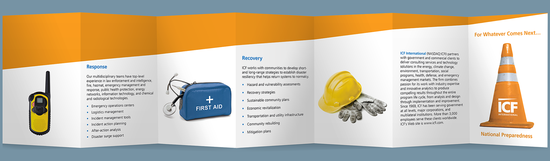 Abol bahadori icf national preparedness valet size brochure and since this was a point of service brochure to make sure that the potential clients keep the brochure we reduced it to a business card size colourmoves
