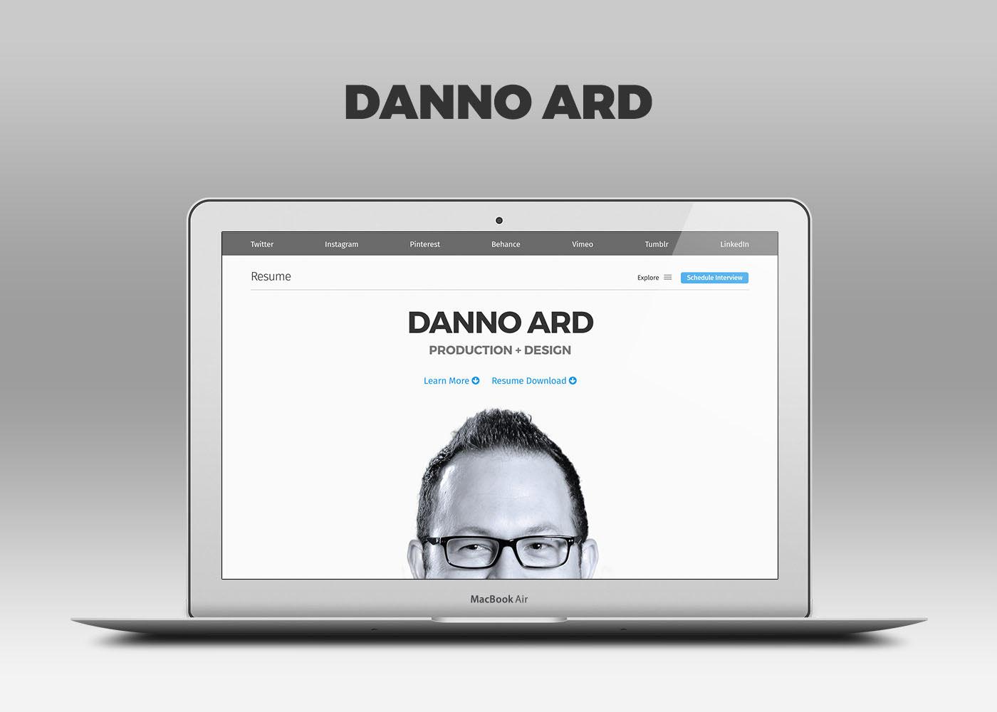 DANNO | Designer + Developer + Producer - Resume Website