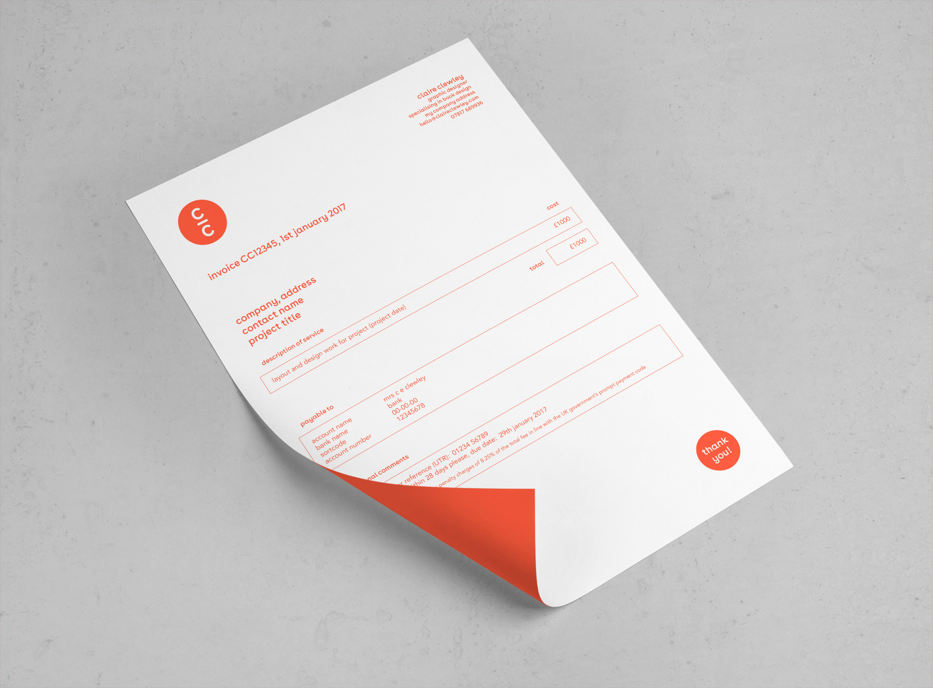 Claire clewley branding personal logo portrait business cards a4 invoice website colourmoves