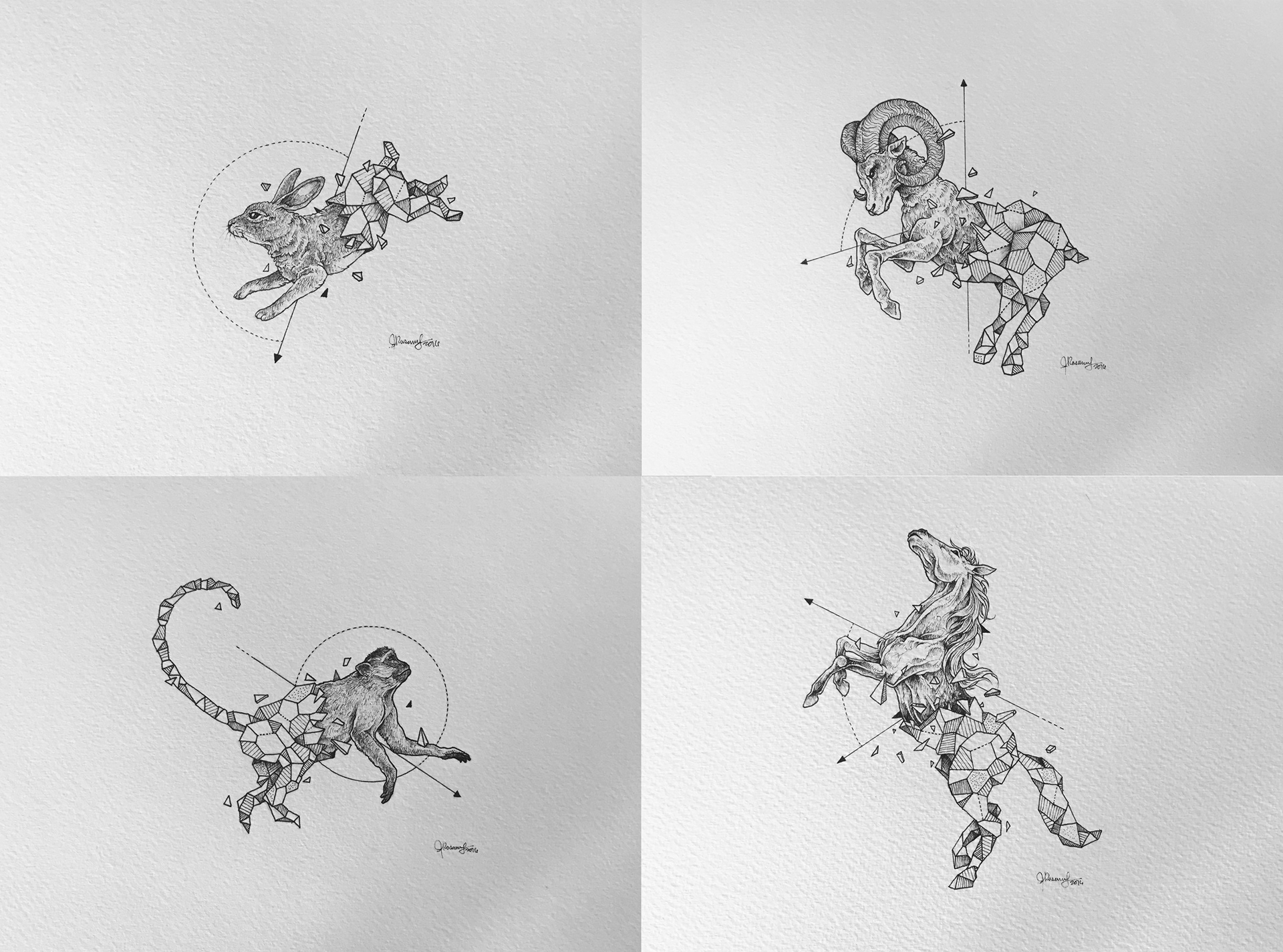 kerby rosanes illustrator portfolio geometric beasts