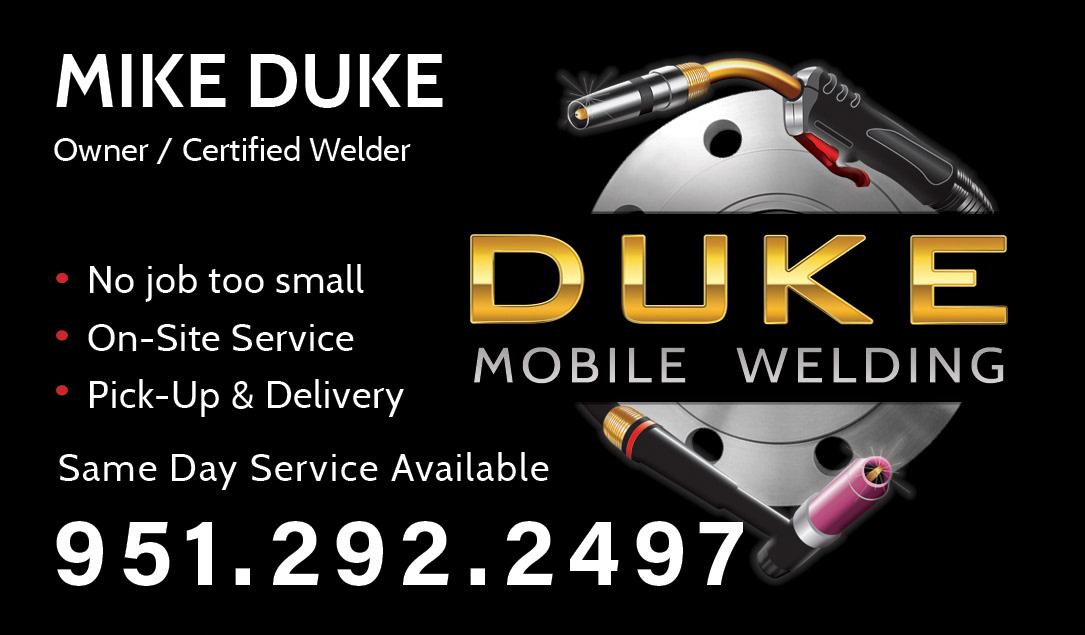 logo design business card duke mobile welding - Welding Business Cards
