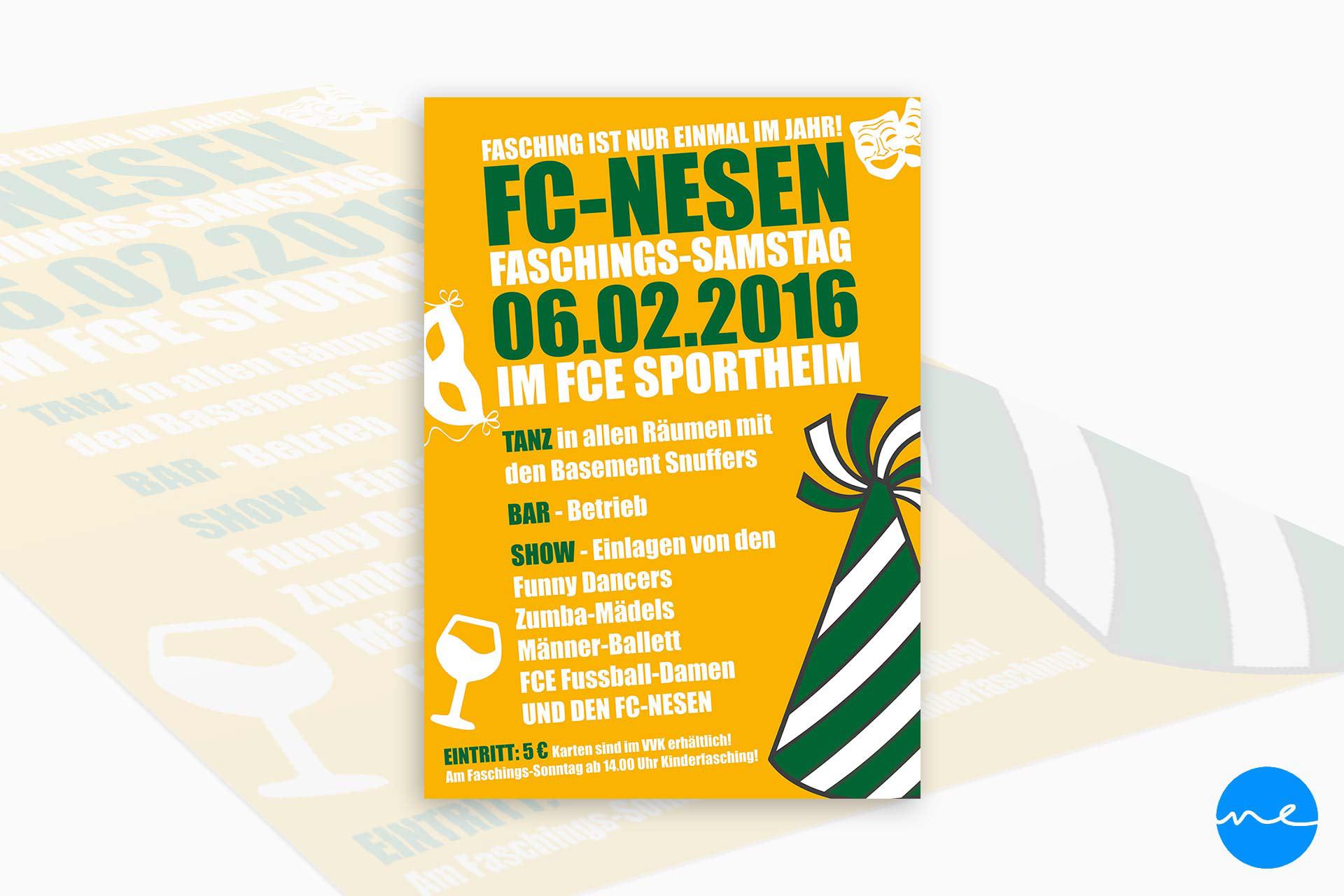 Manuel Eckersberger Grafikdesign Flyer Fc Nesen Fasching