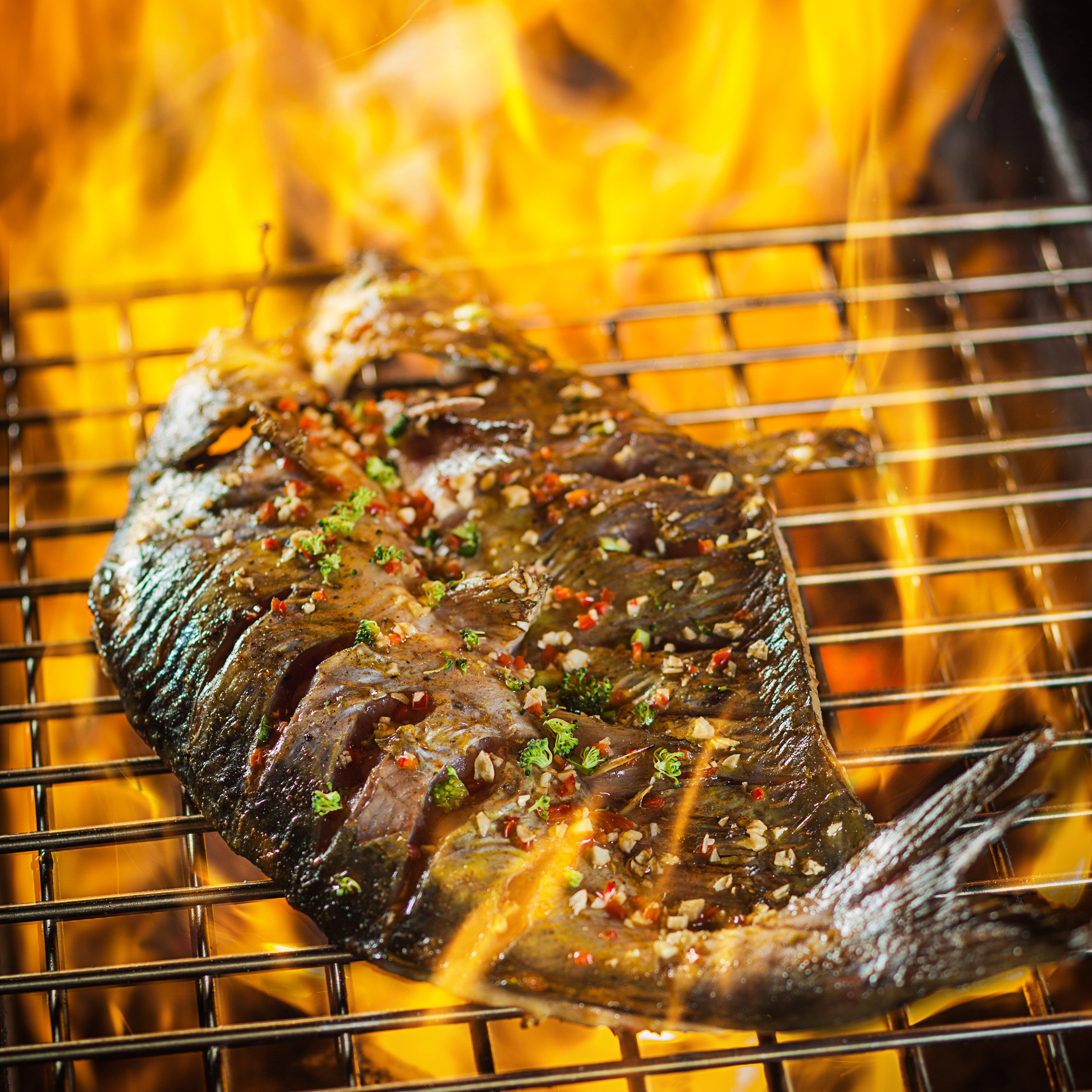 трафаретов для рыба на огне рецепты с фото техники предусматривают