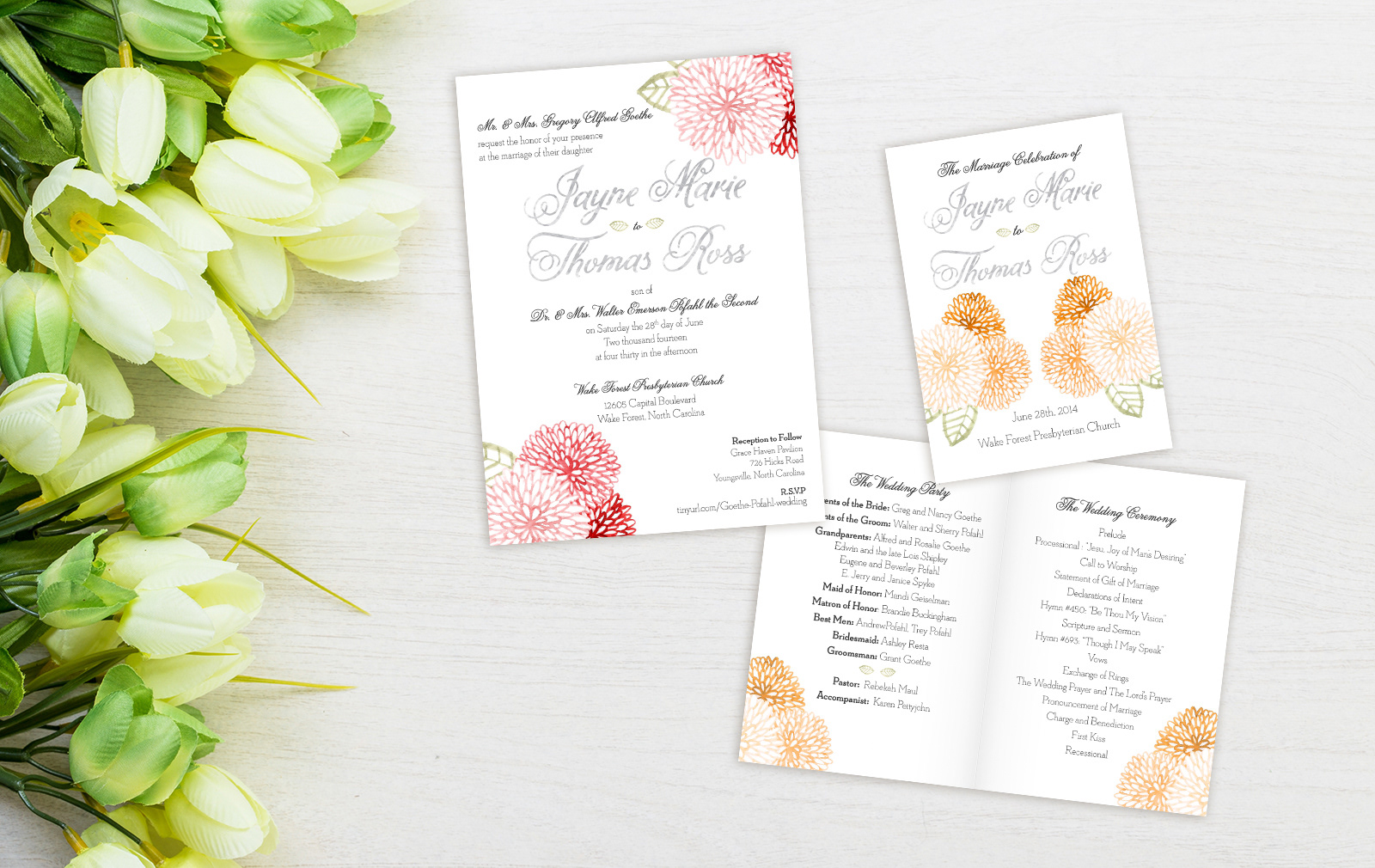 Ink and Colour - Wedding Invitation & Program
