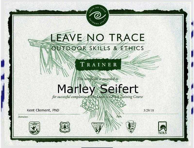 Marley Seifert Leave No Trace Certification