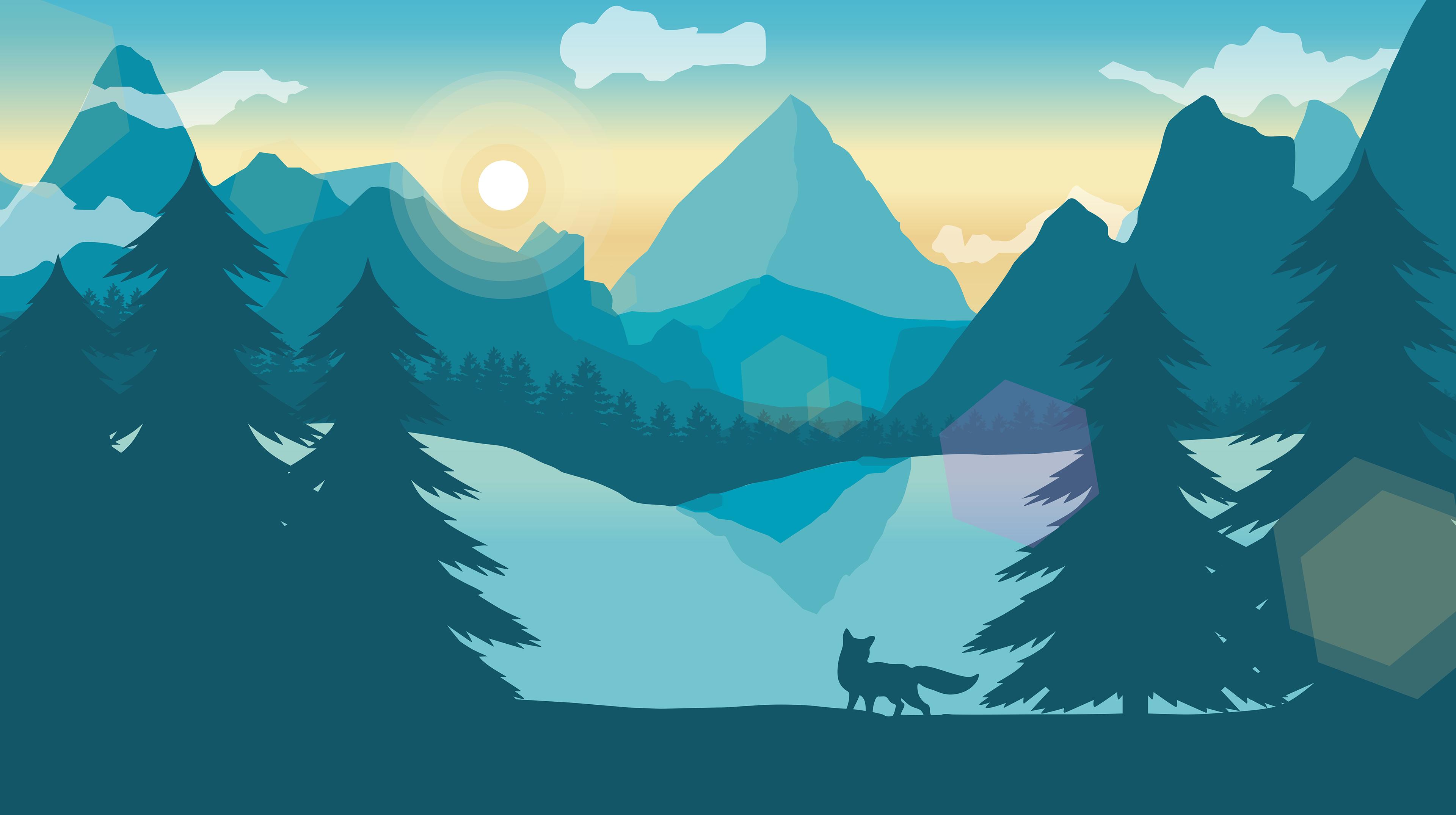 Landscape Illustration Vector Free: Flat Landscape Digital Illustration