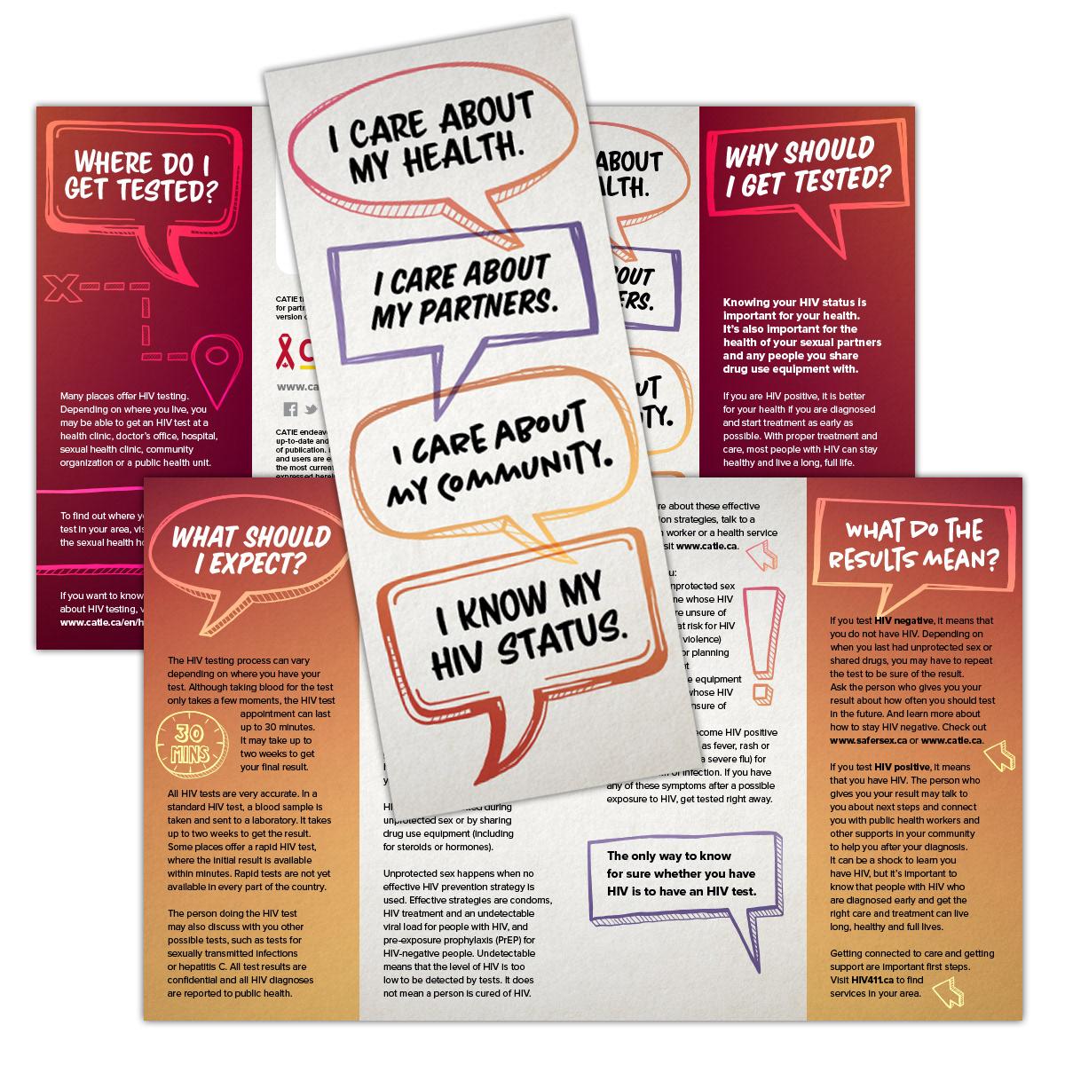 Pam Sloan Designs - CATIE - I Know My HIV Status Brochure