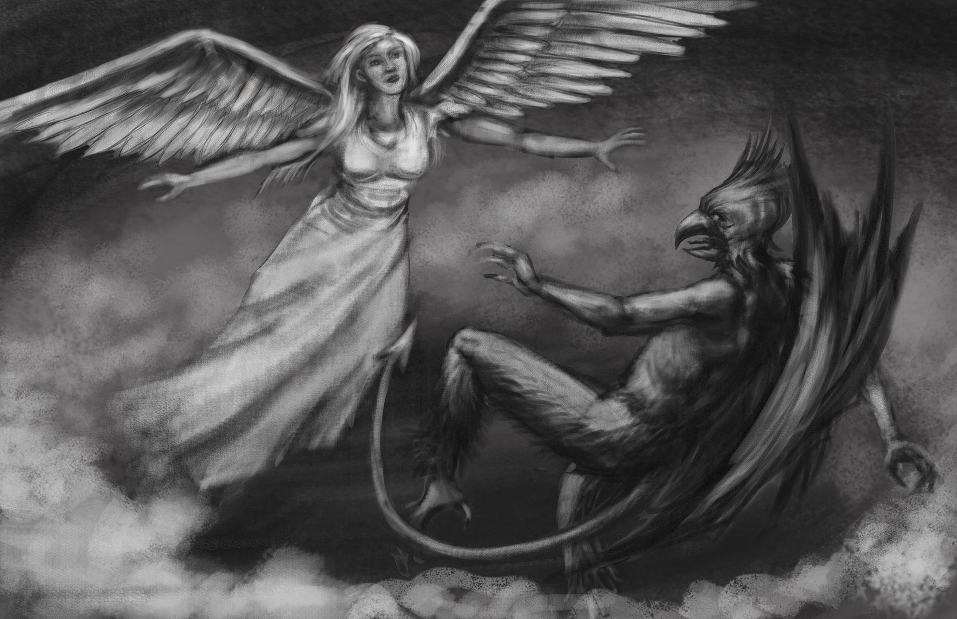 Рисунки ангелов и демонов картинки