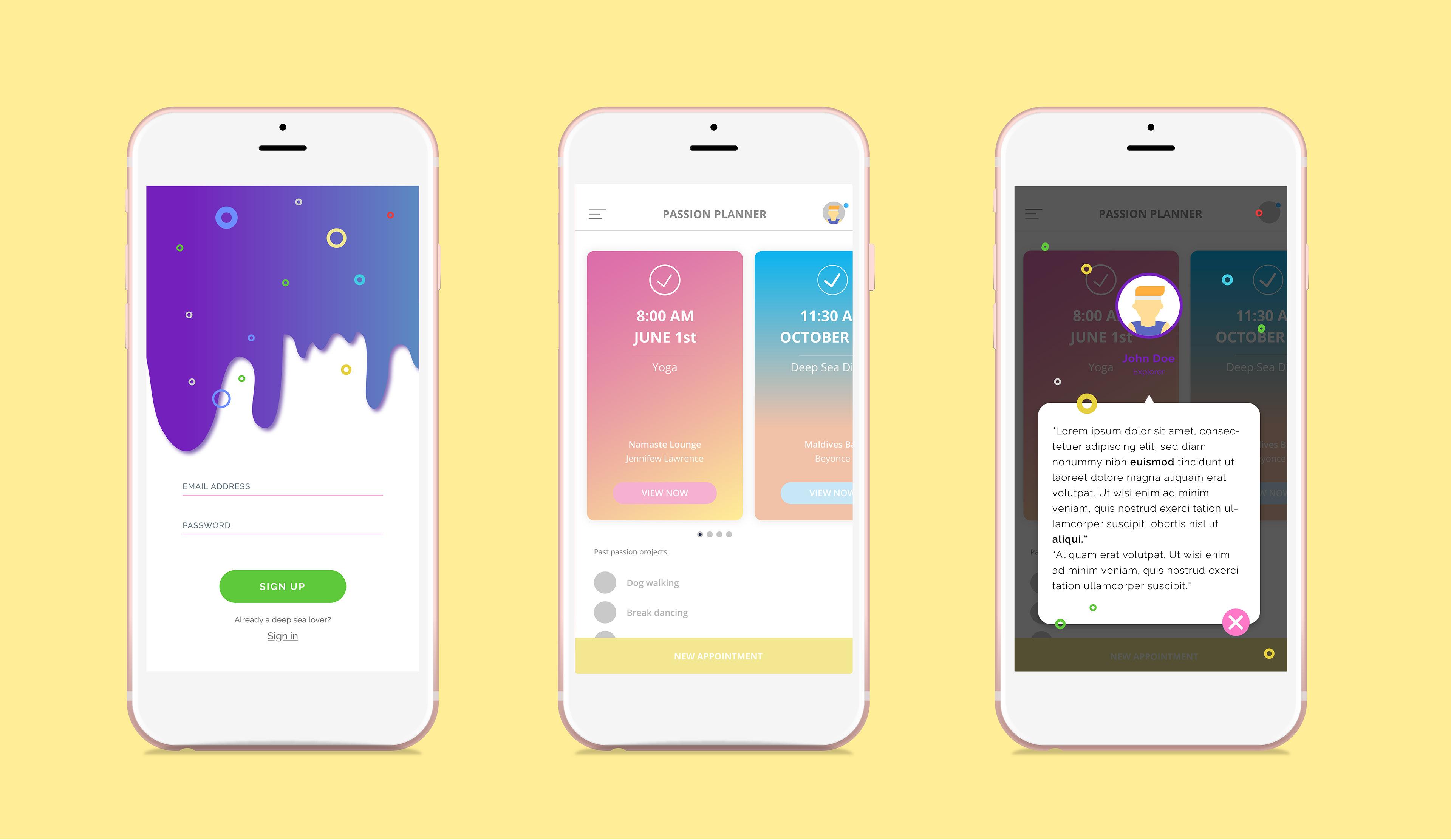App Di Design gresshaa mehta - passion planner ui design