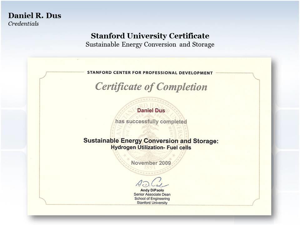 Daniel Dus Stanford University Certificate Hydrogen Fuel Cells