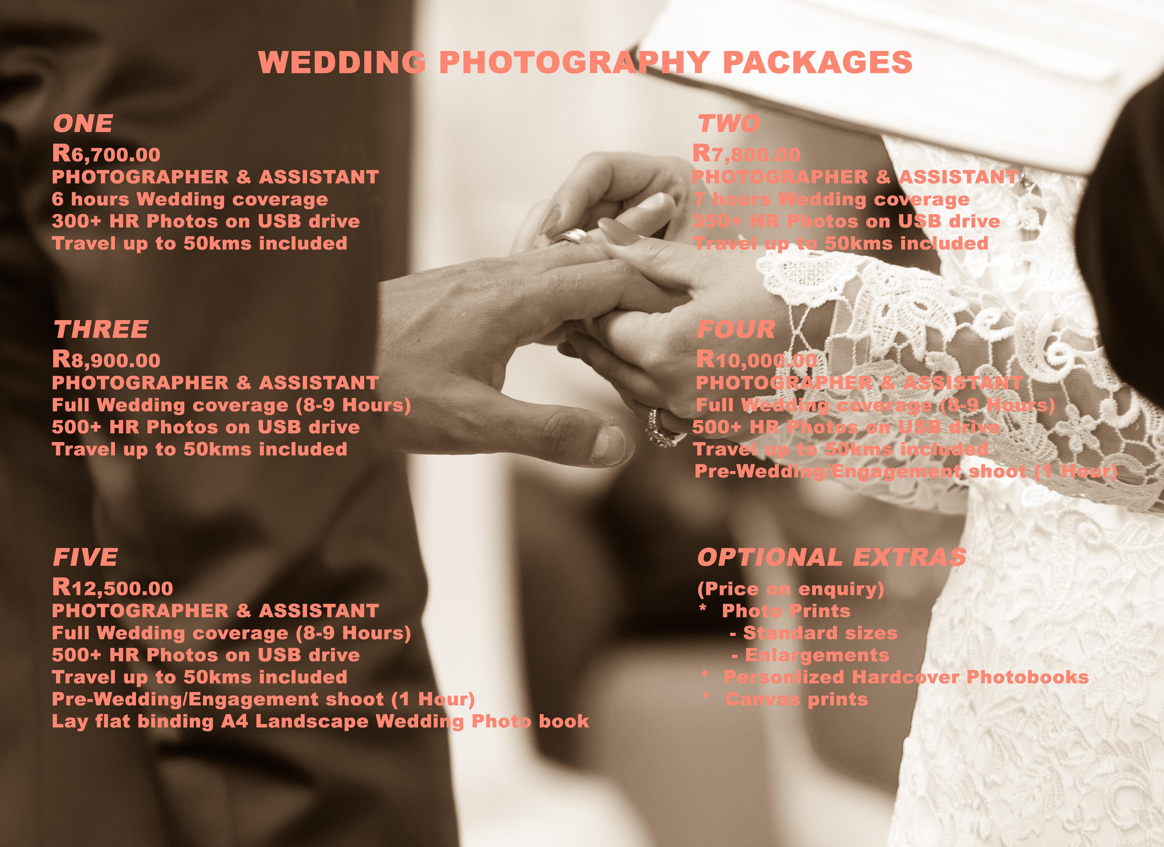 josia bezuidenhout photography wedding packages