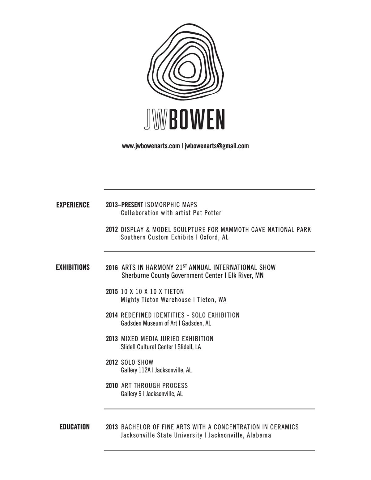 JW BOWEN Sculpture Arts - RÉSUMÉ