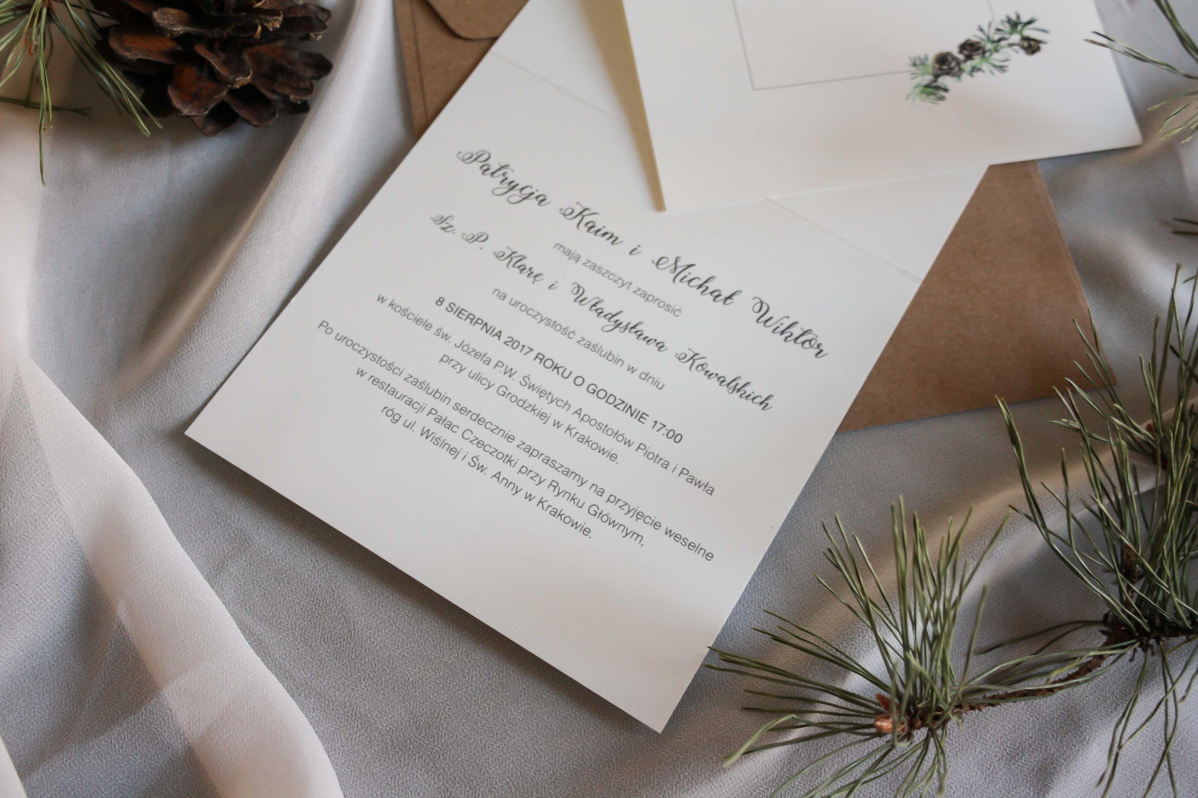 Zaproszenia ślubne Studio 3 Kropki Zimowy Las