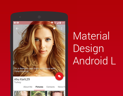 ahu karli dating app profile screen material design concept