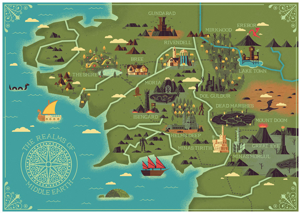 we chose to illustrate a map of middle earth the setting for the hobbit and the lord of the rings we depicted several landmarks which were prominent