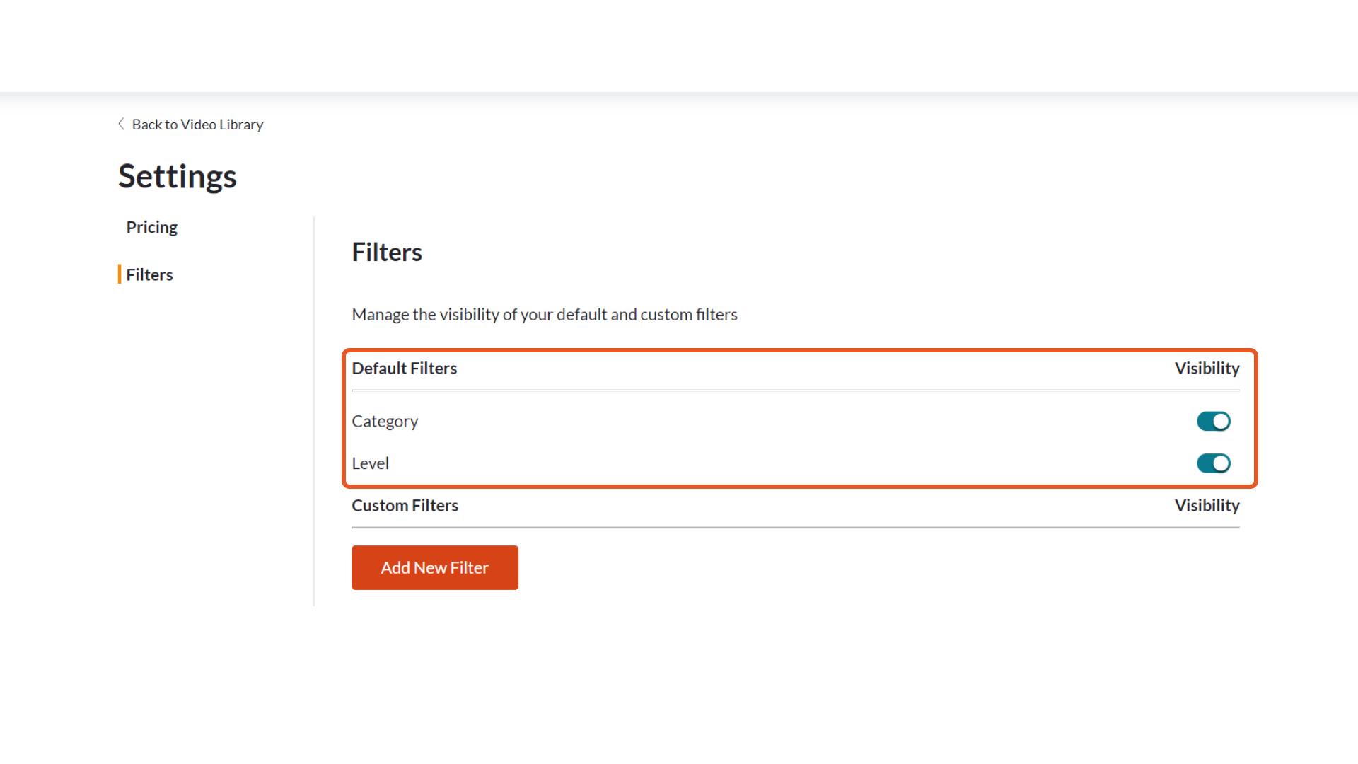 Default filters