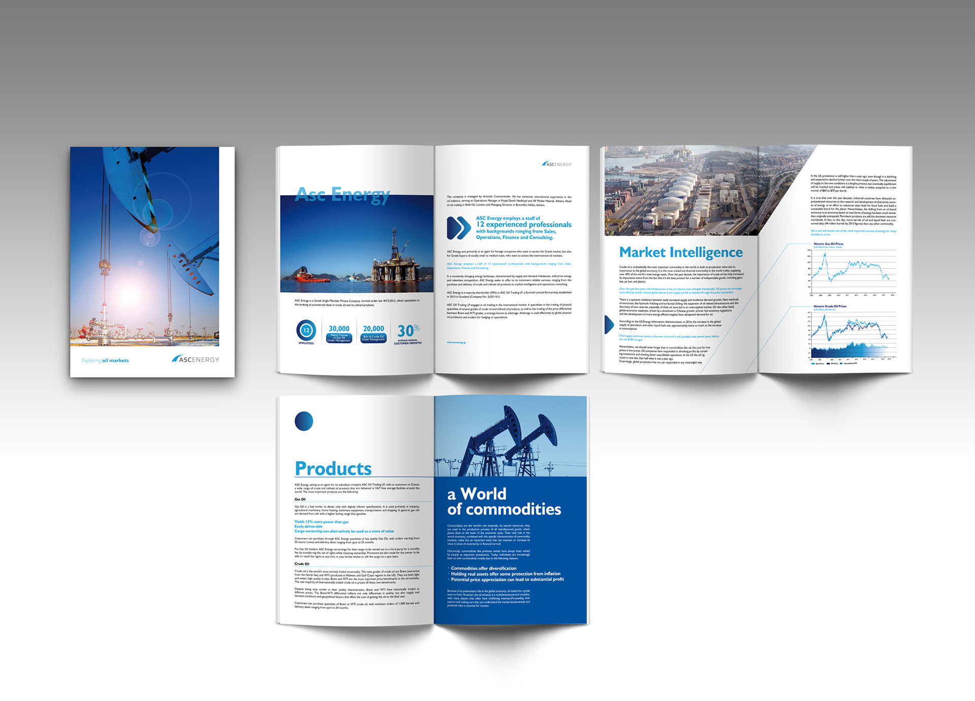 refreshing the visual identity of asc energy an oil trading company based in athens greece brochure stationary and website design