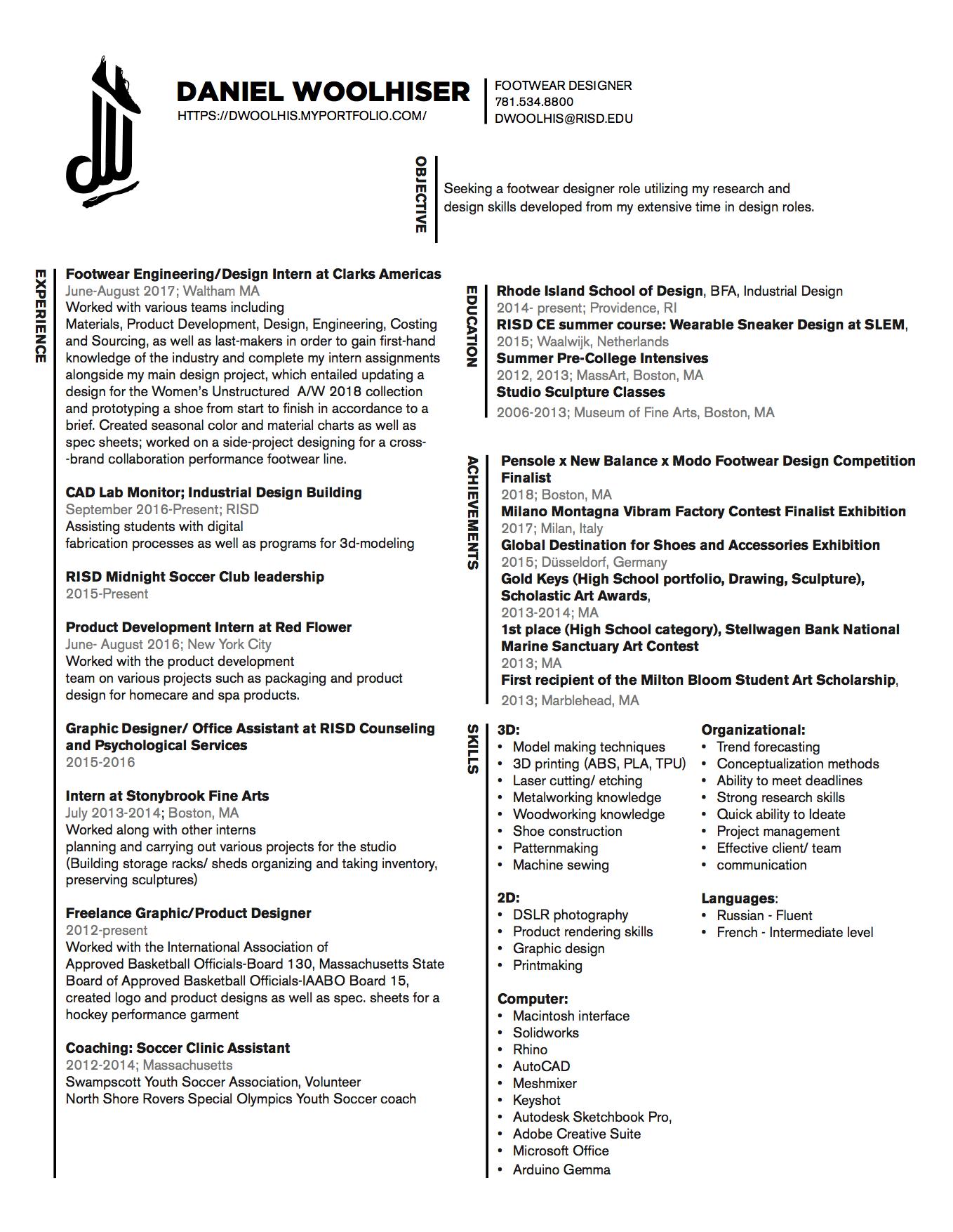 Daniel Woolhiser - Contact/Resume