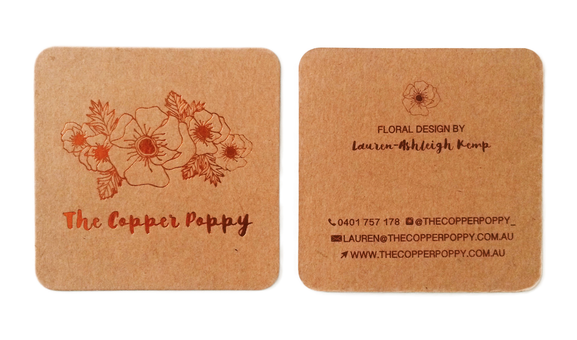 Laura grainger the copper poppy branding the business cards were printed on kraft paper and the front of the business cards were printed in copper foil reheart Image collections