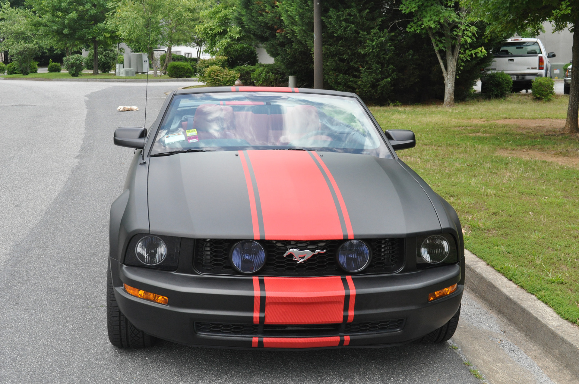 Black Color Change And Adding Some Beautiful Red Carbon Fiber Racing Stripes Rocker Panel On Top Of It Making This Mustang Look Off The Chart