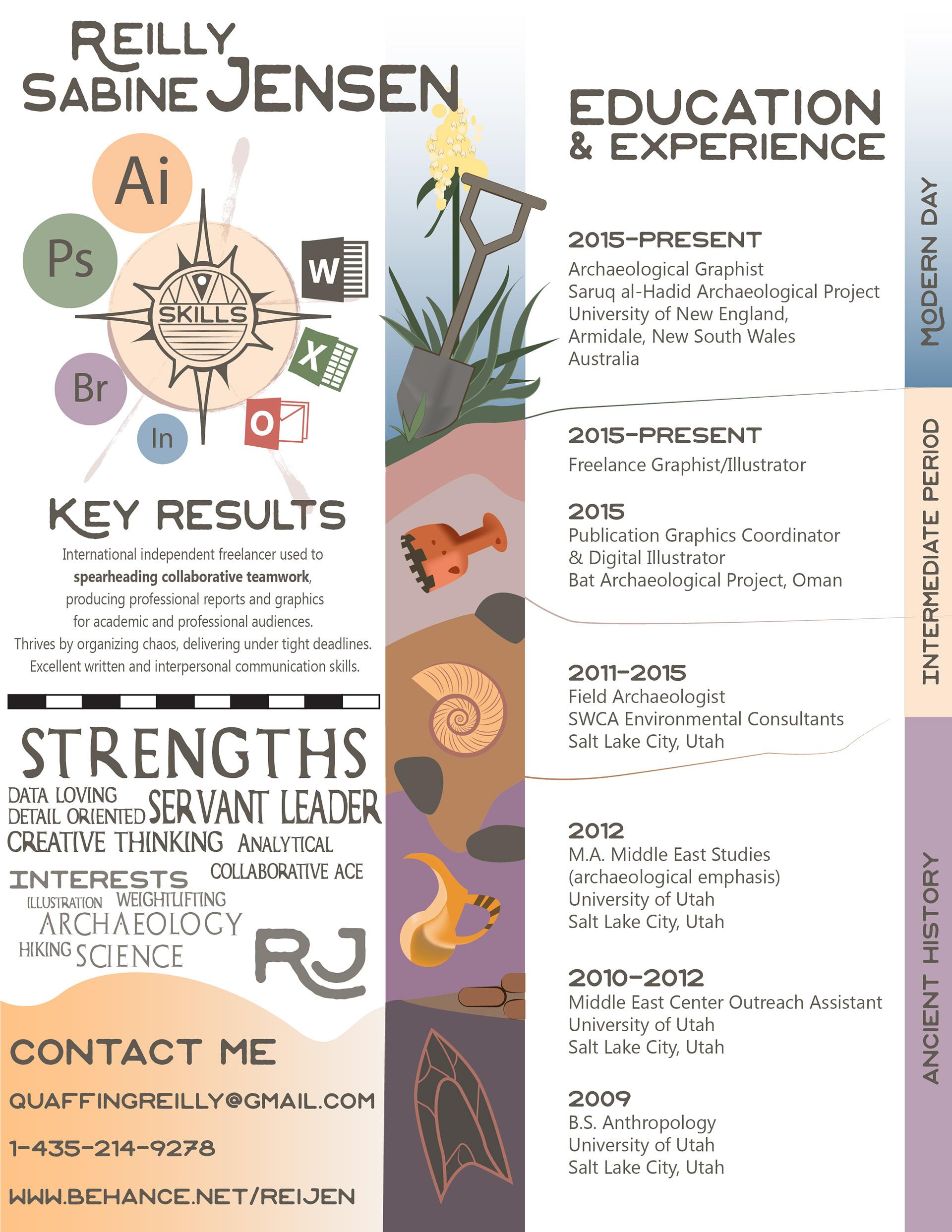 reilly jensen archaeological illustration infographic resume