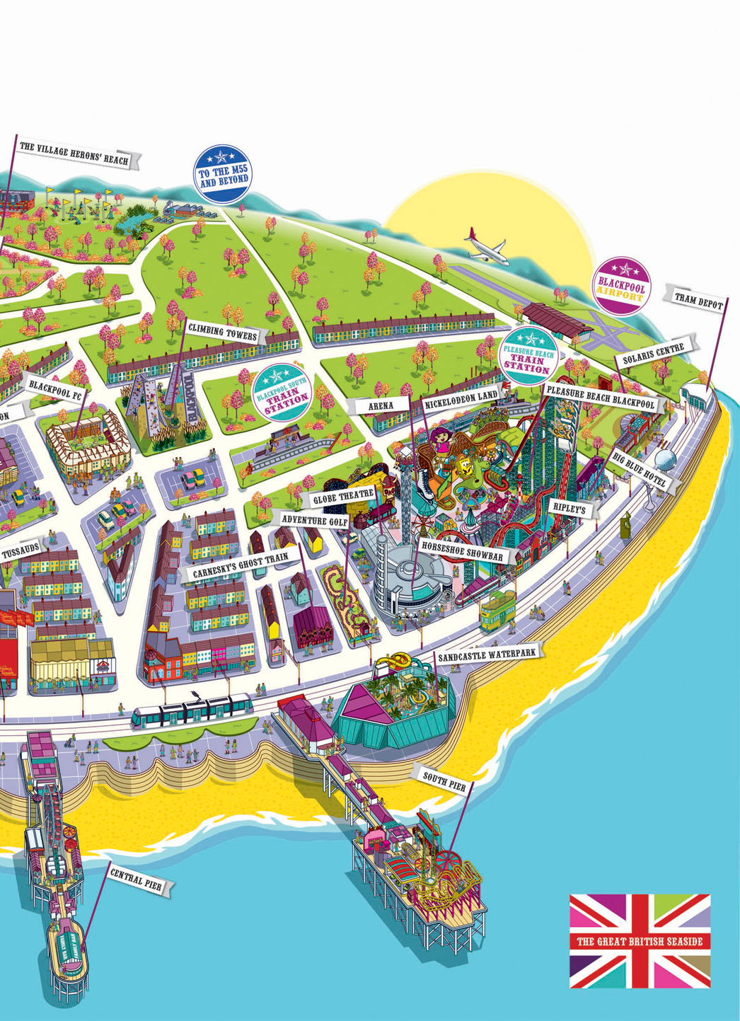 blackpool tourist map large blackpool maps for free download and  - rod hunt illustration studio illustration and map design attractionsinclude the blackpool