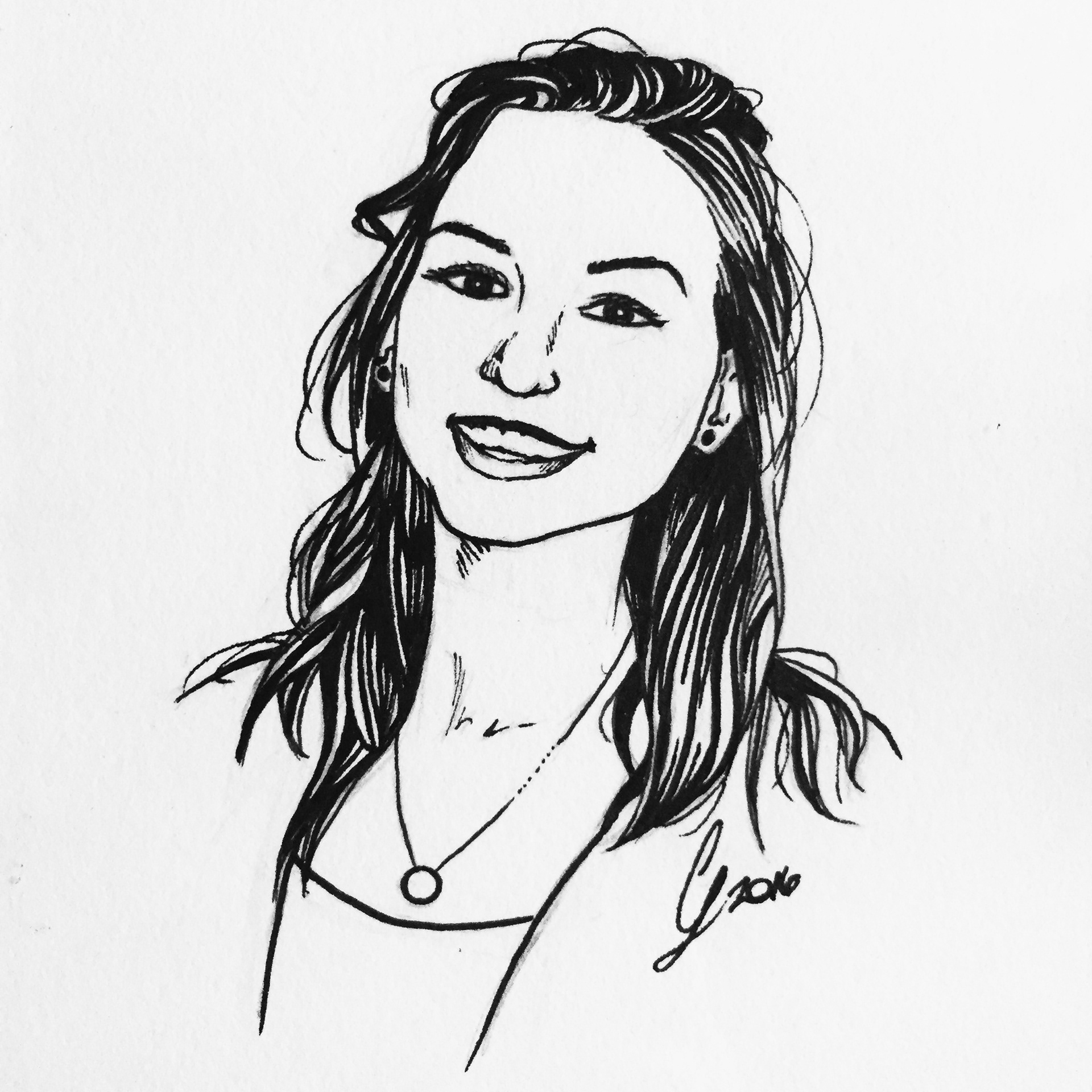 simple black white portraits in ink