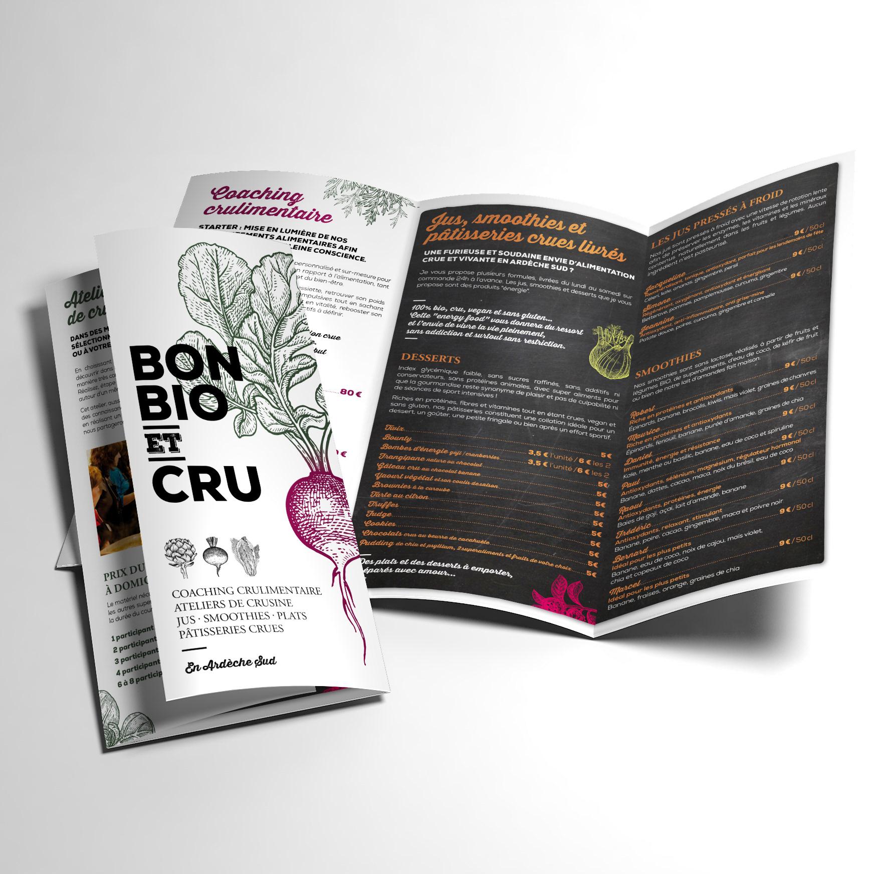 Coaching Alimentaire Ateliers De Cuisine Et Preparation Plats Crus Creation Lidentite Visuelle Logo Cartes Visite Depliant